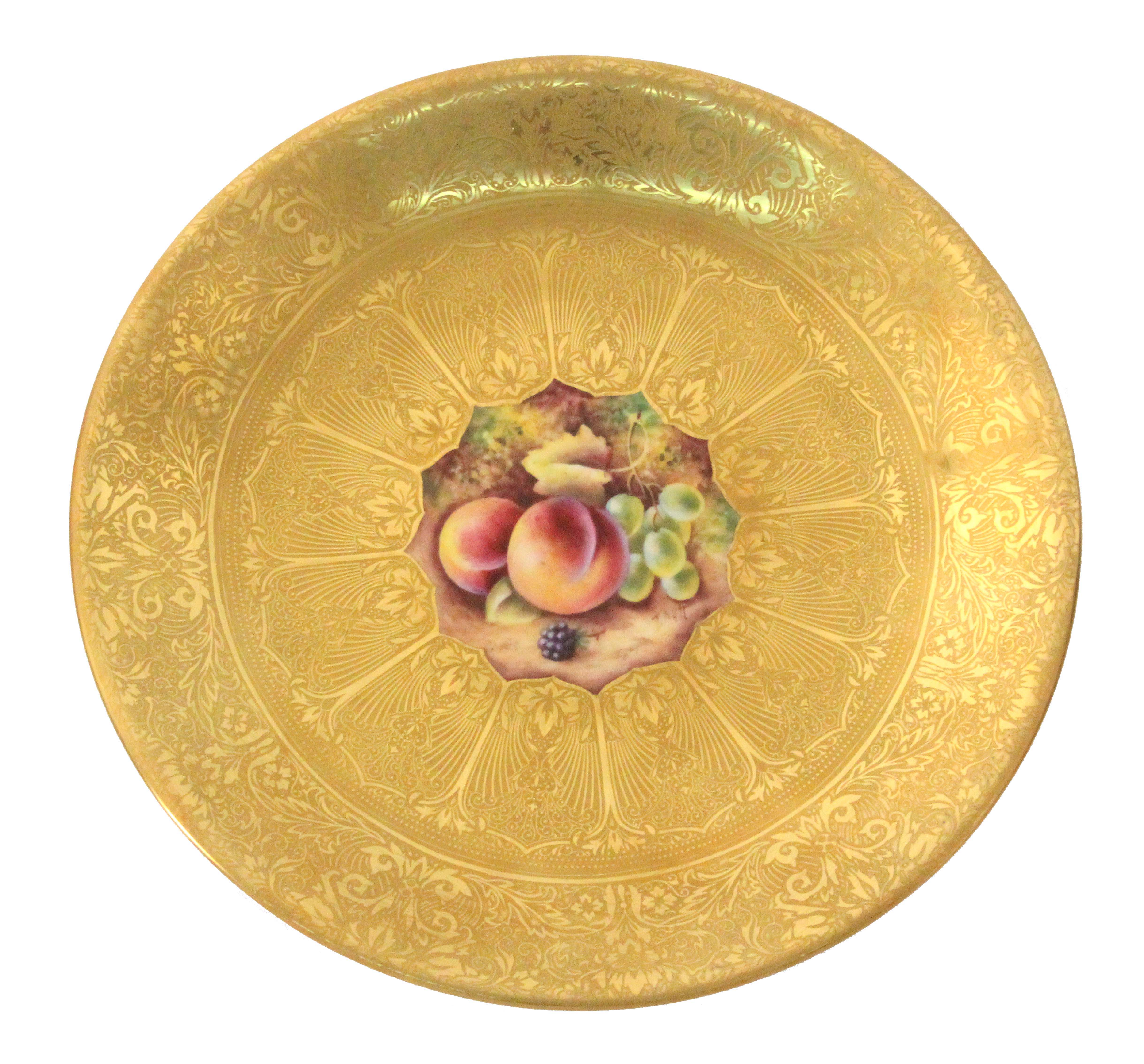 Royal Worcester - an acid gold decorated dessert plate, with fruit painted centre signed 'T.