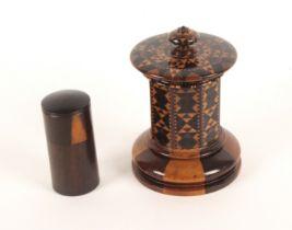 An attractive Tunbridge ware desk inkwell, the alternate wood turned circular base below an