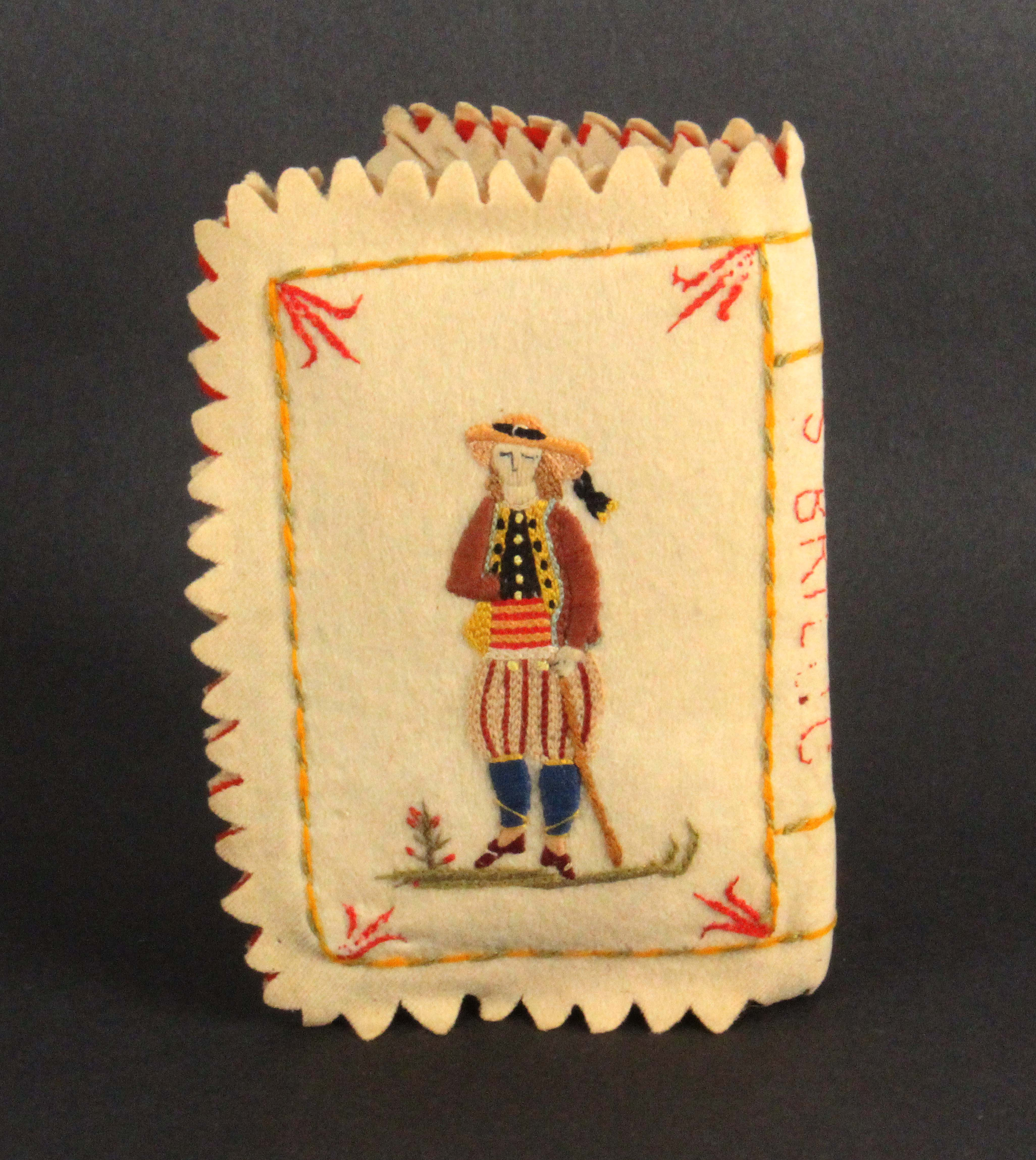 A 19th Century French needle book of large size, titled to the spine 'St Brieuc', the felt covers - Image 2 of 3