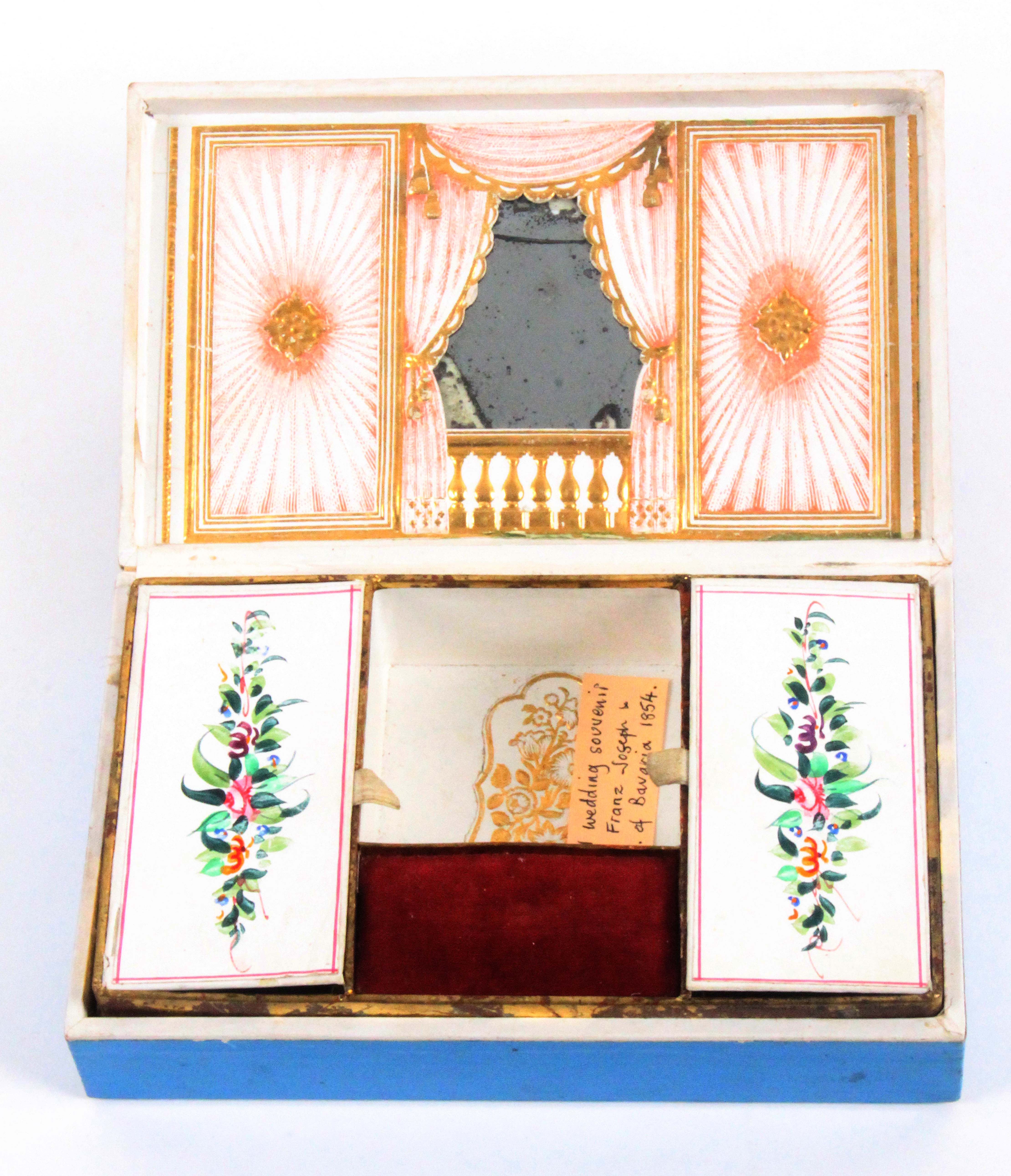 A mid 19th Century continental cardboard sewing box, probably commemorating the wedding of Franz - Image 2 of 2