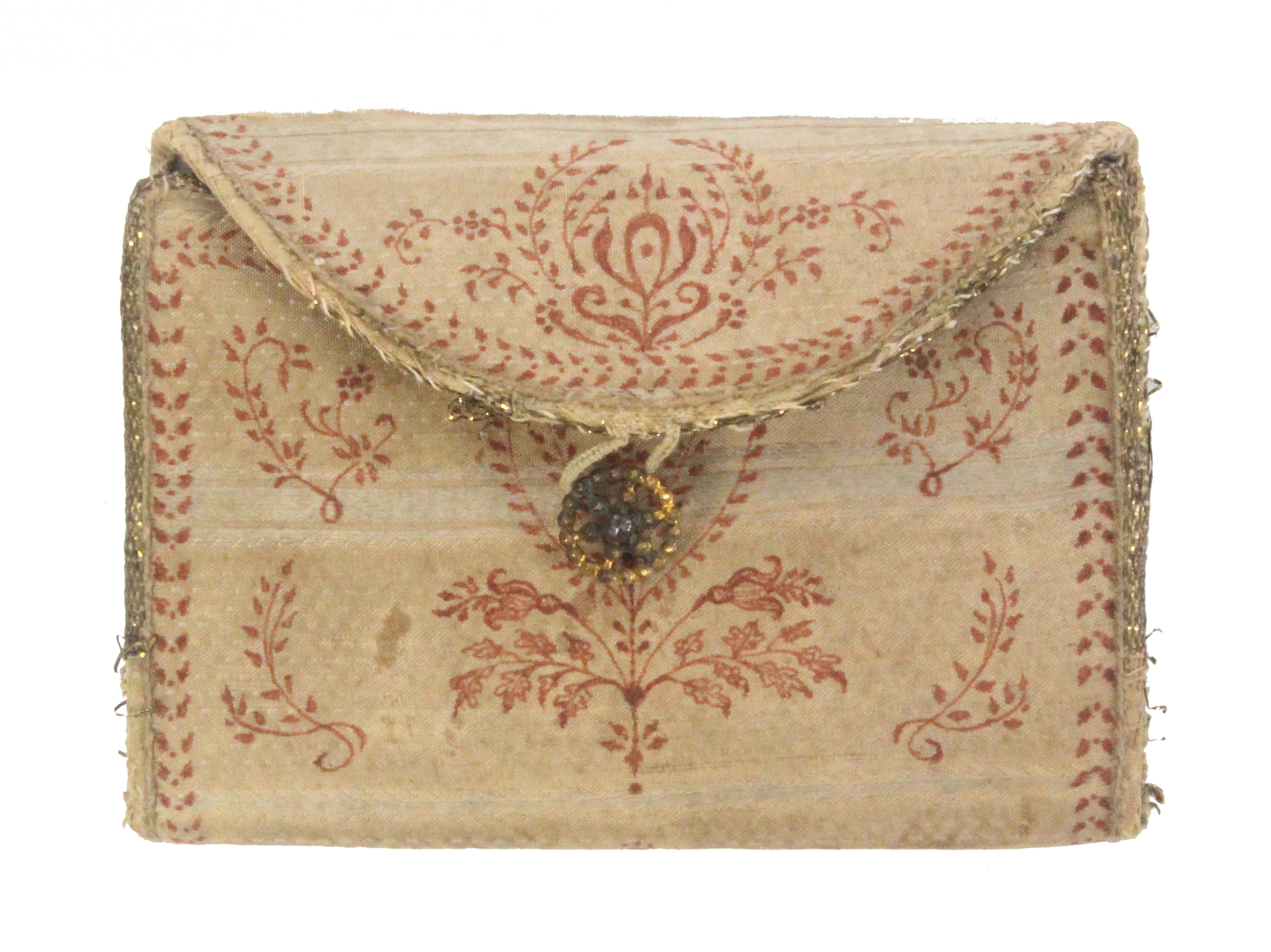 An 18th Century ivory silk sewing wallet, with anthemion and floral printed or painted decoration, - Image 2 of 3