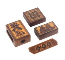 Tunbridge ware - four pieces, comprising a mahogany match box holder, one side with a floral