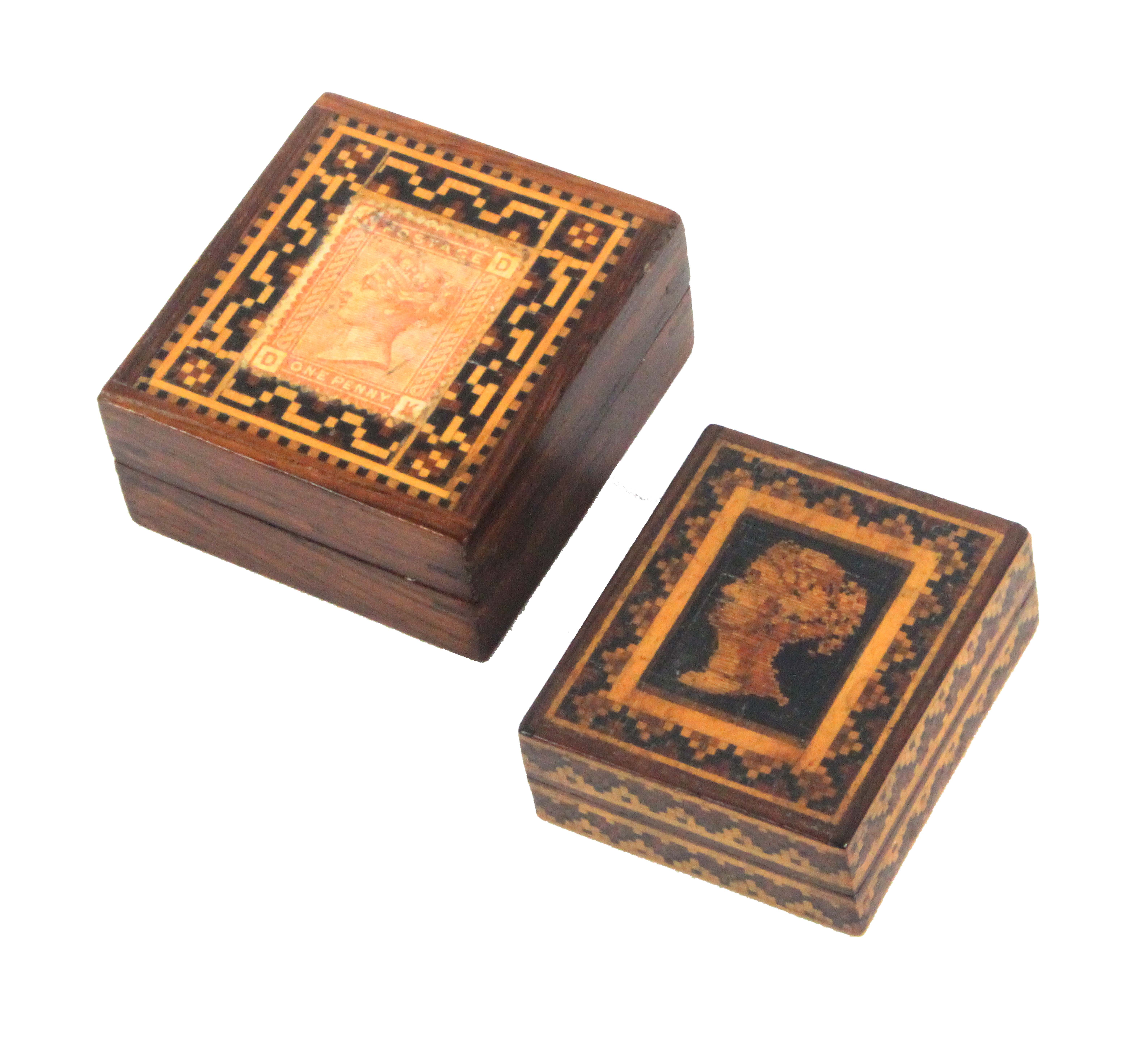 Two Tunbridge ware stamp boxes, both rectangular, comprising an example with Q.V. young head in fine