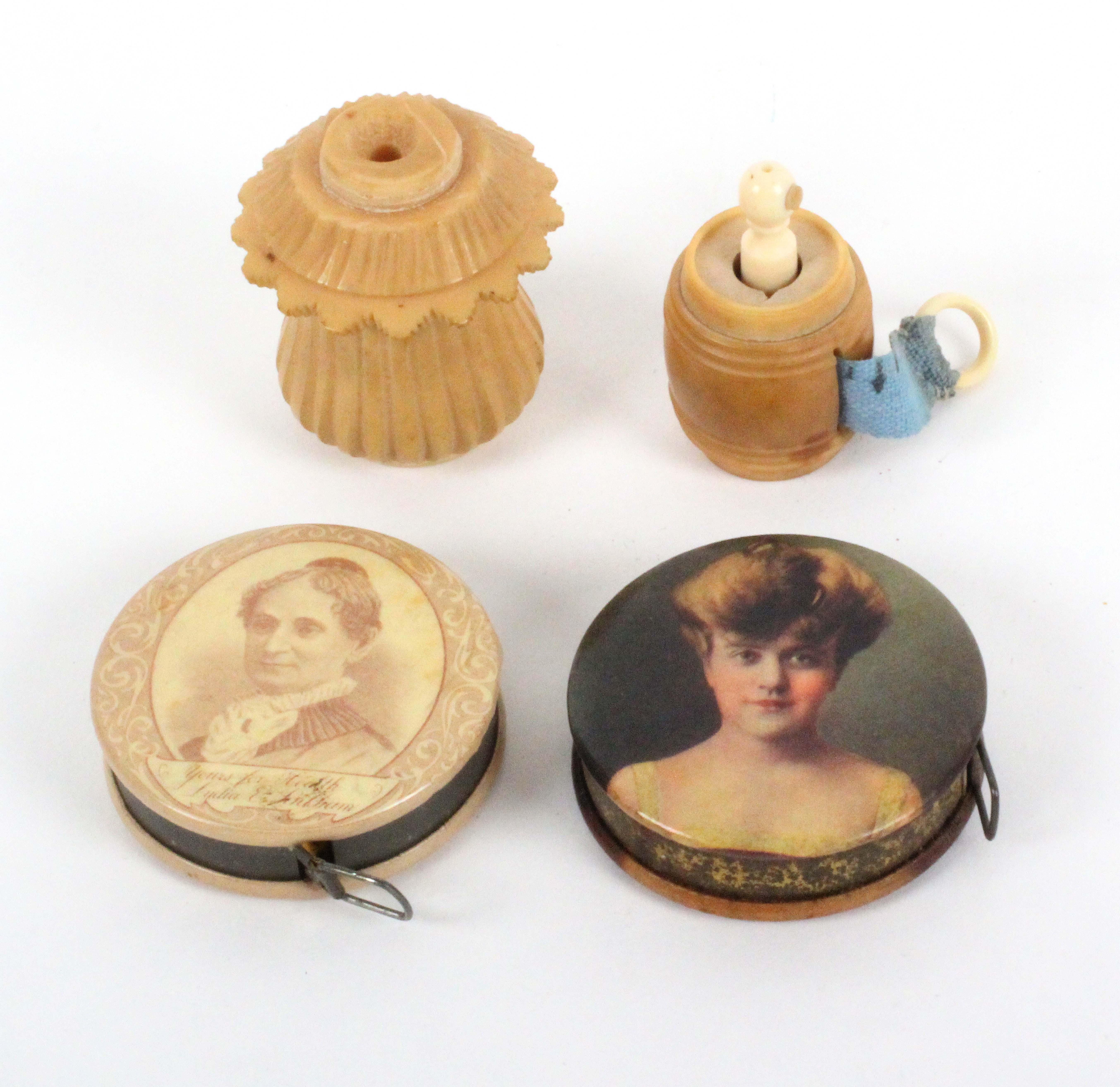 Four tape measures, comprising a circular retractable example advertising Lydia E. Pinkmans