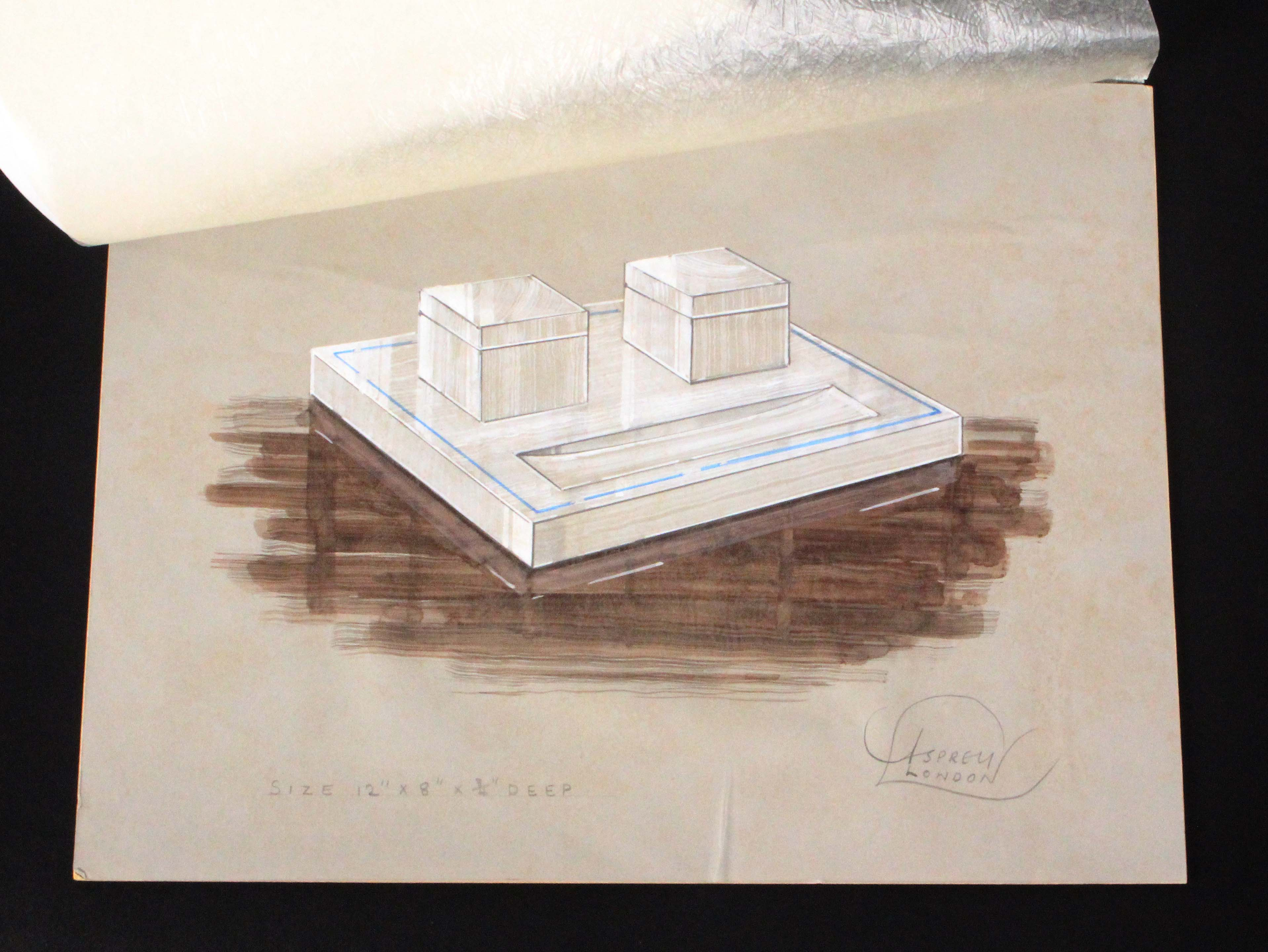 Asprey - London, white onyx desk accessories, including a pen stand with original water colour - Image 2 of 5