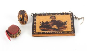 Tunbridge ware - sewing, three pieces comprising a mosaic needle book one side with a child in a