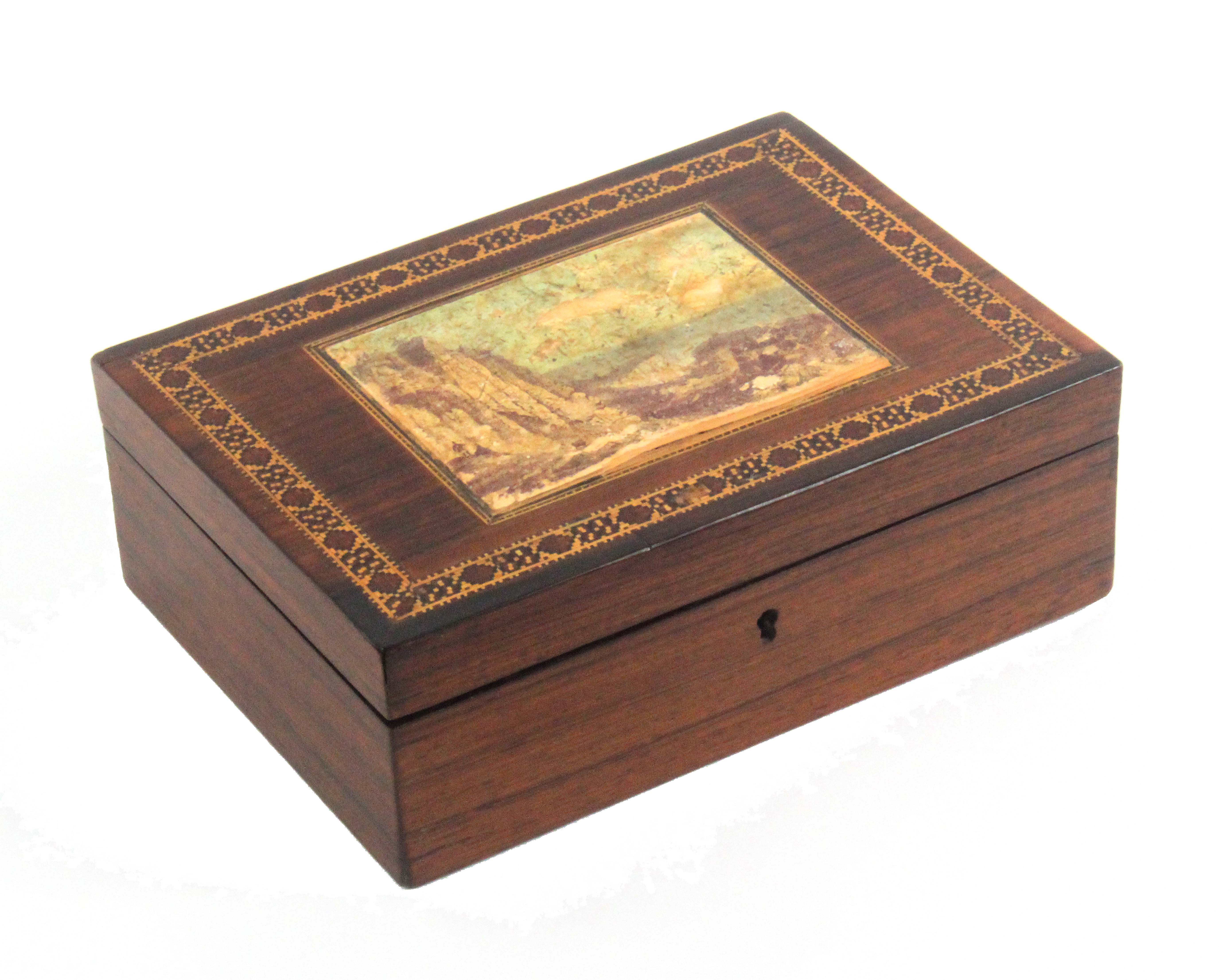 A Tunbridge ware rosewood rectangular box, the lid with a partly coloured photographic view labelled