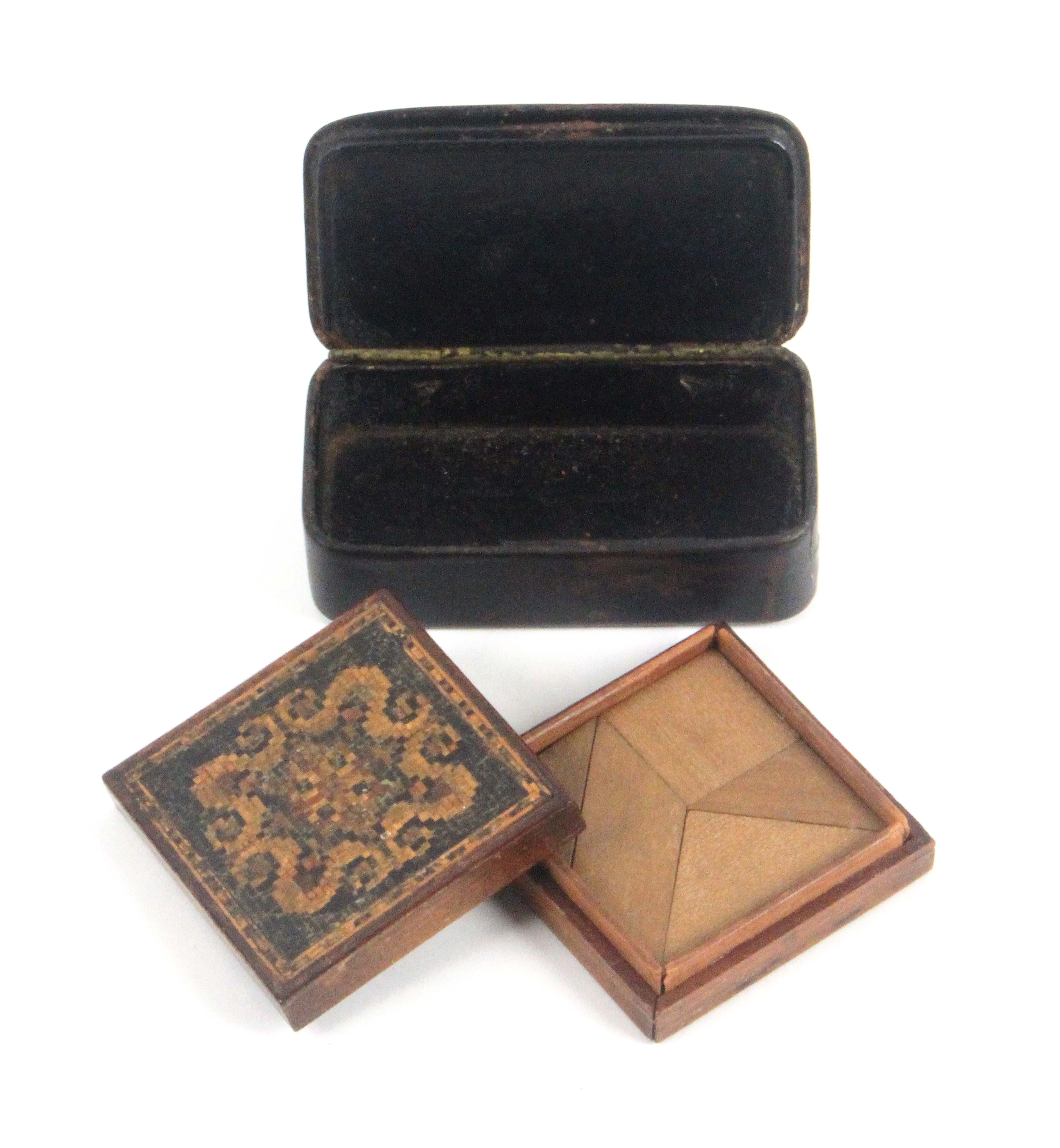 Two Tunbridge ware boxes, comprising a papier mache snuff box the lid with a fine inset mosaic - Image 2 of 2