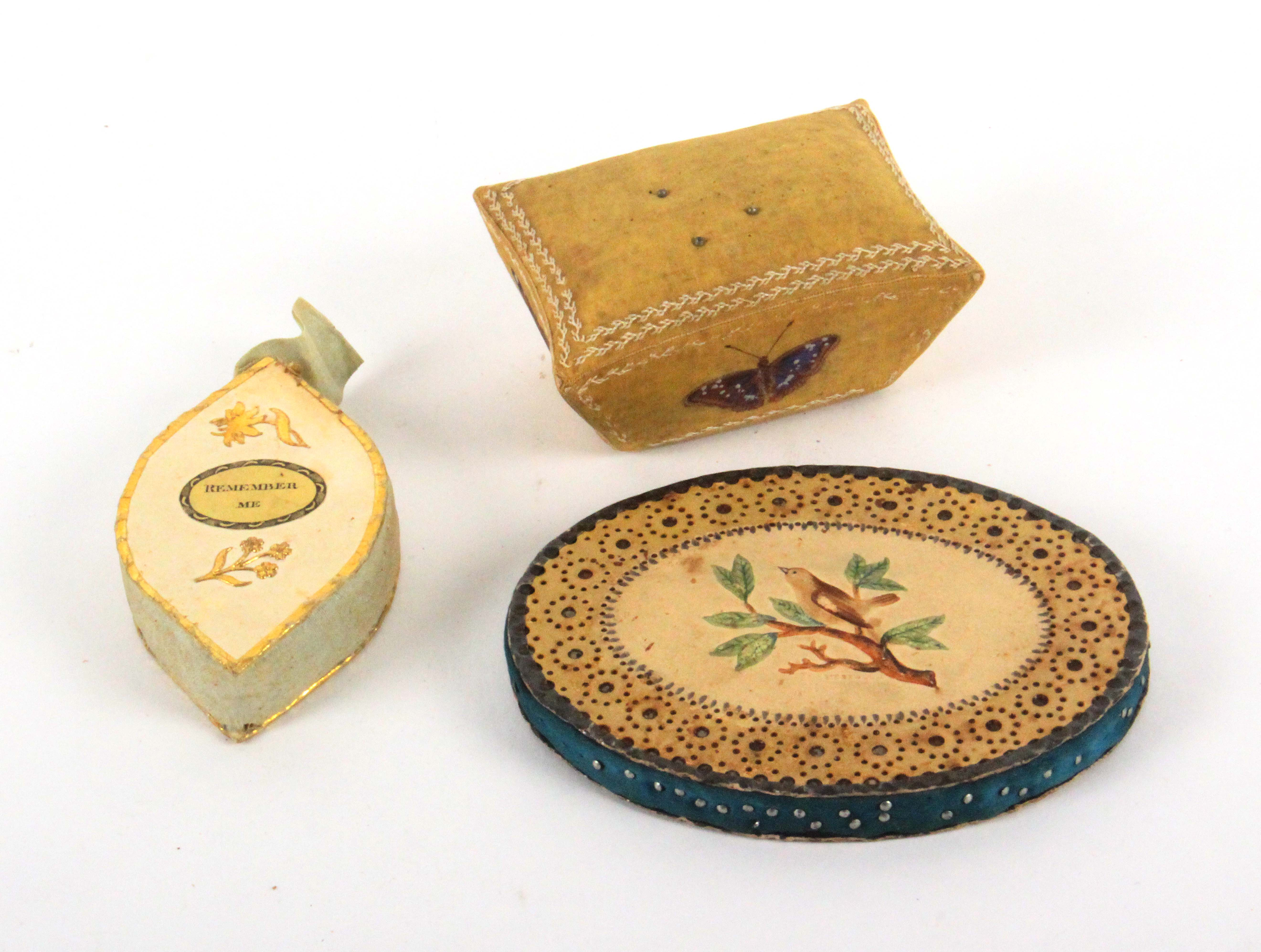 Three early 19th Century pin cushions, comprising an oval Bristol card example one side with a - Image 2 of 2