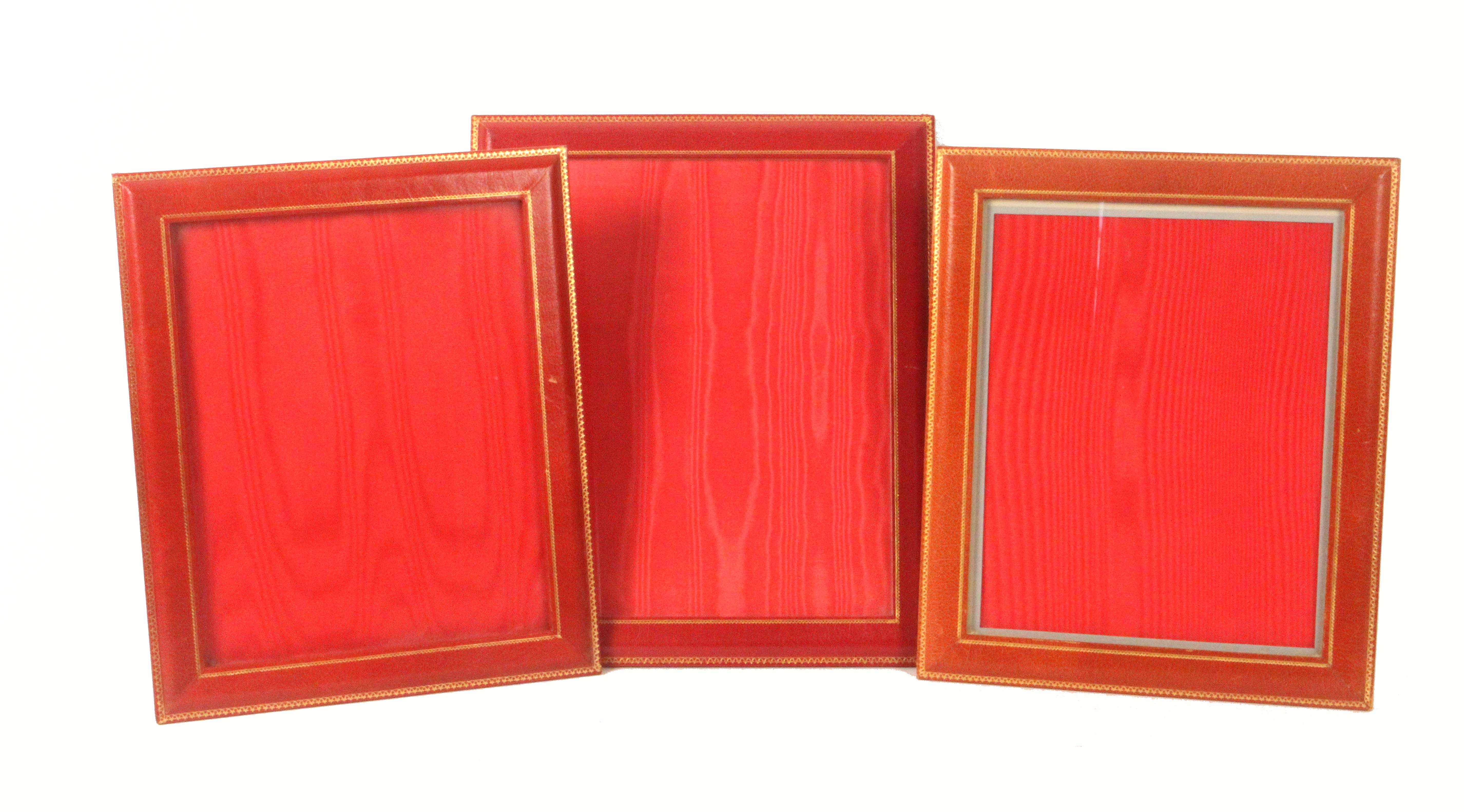 Asprey - London, six gilt tooled leather rectangular frames, comprising a pair in black, 29 x 35cms, - Image 2 of 2