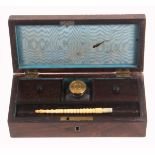 A William IV rosewood desk box, of rectangular form, the lid with quarter bobbin mouldings, the