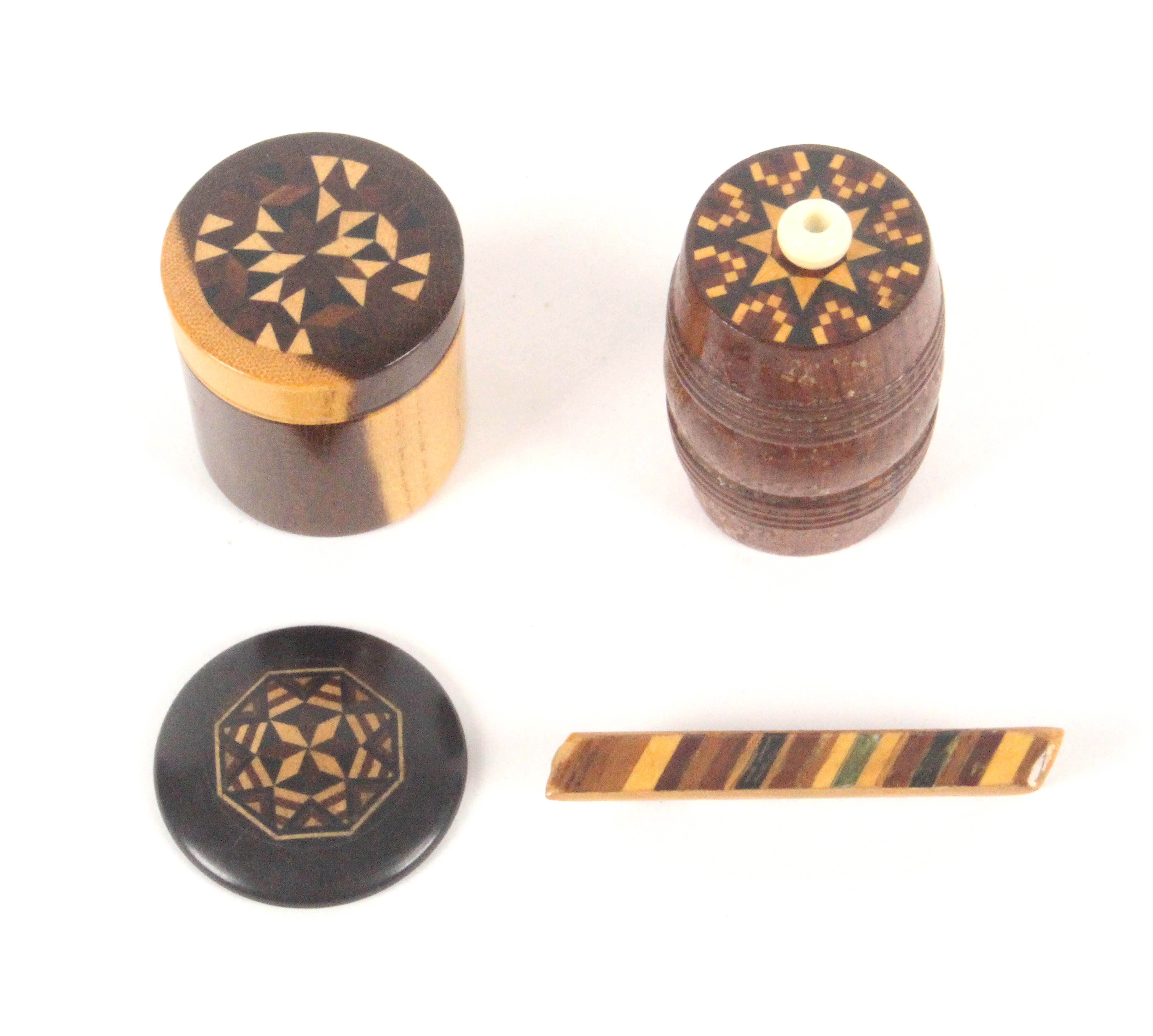 Tunbridge ware - four pieces, comprising a cylinder box the screw-off lid with stick ware panel,