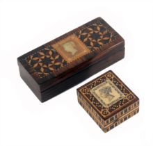 Two Tunbridge ware stamp boxes, comprising a rectangular rosewood example, the lid with a penny