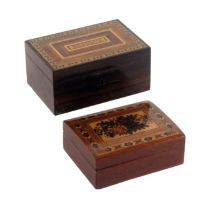 Two Tunbridge ware card boxes, comprising a rectangular rosewood example, the lid titled in