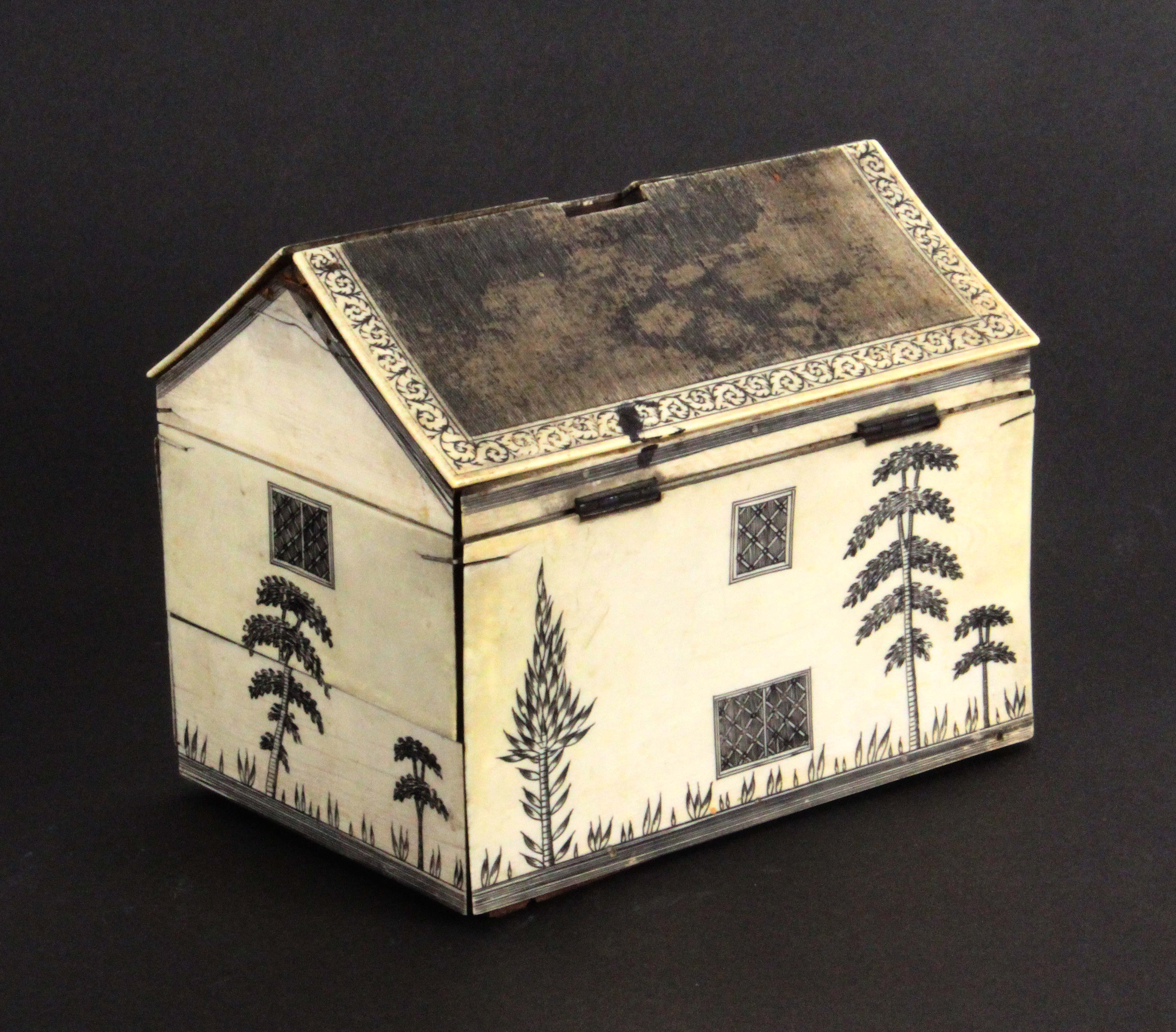A rare early 19th Century Anglo-Indian ivory veneered sewing box in the form of a house, the pitched - Image 2 of 3