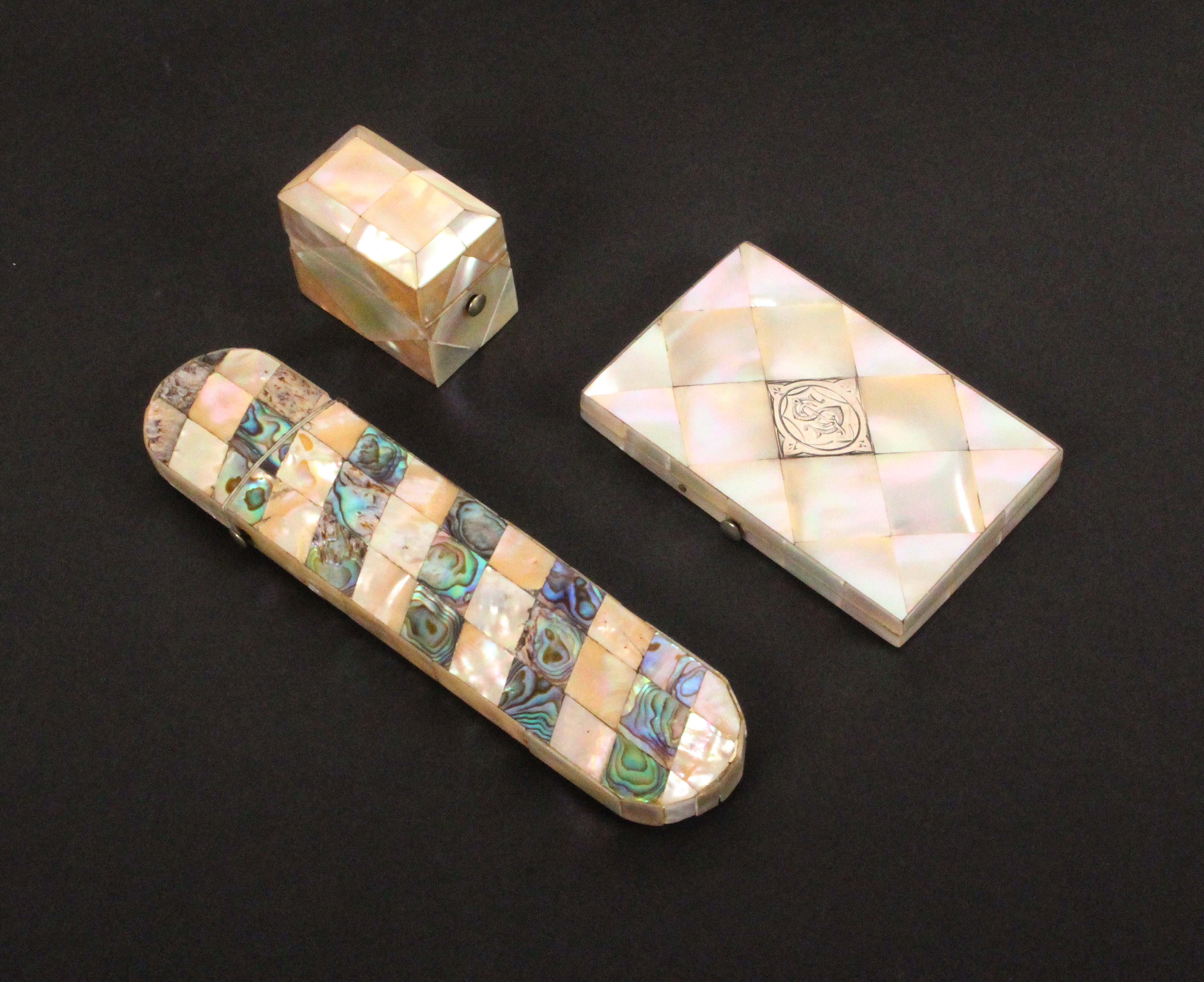 Three mother of pearl boxes, comprising a spectacle case with spiral bands of abalone shell, 15.