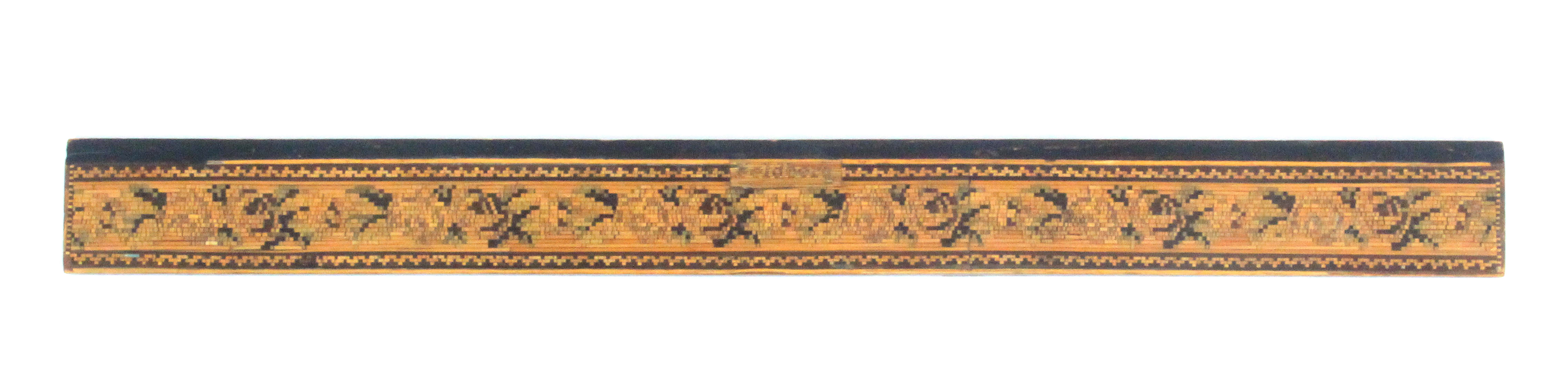 An unusual 19th Century split and coloured straw work ruler, decorated with a band of flowers