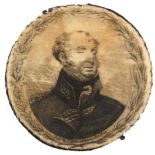 A rare printed circular silk pin disc commemorating the Duke of York, (d. 1827), one side with