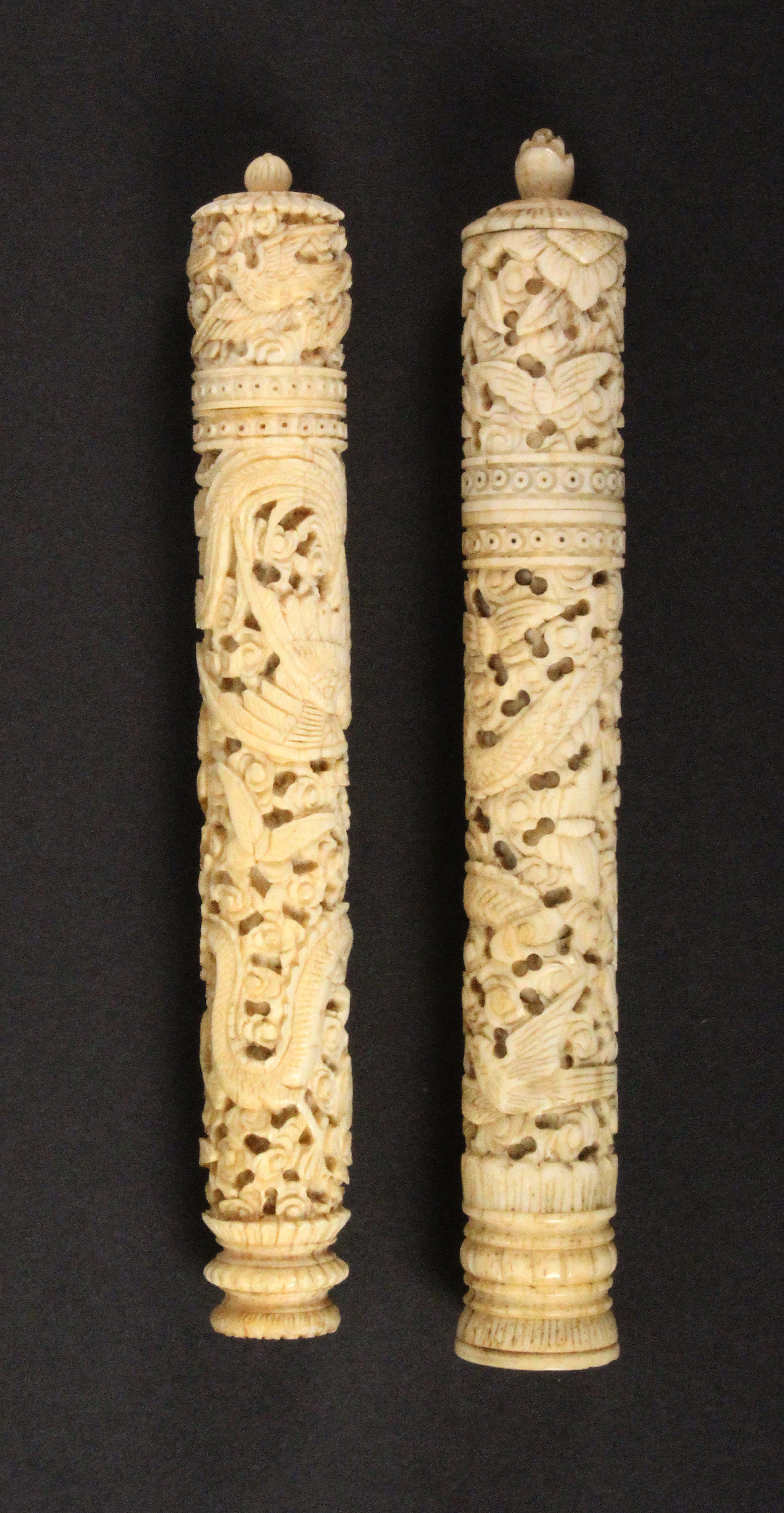 Two Chinese 19th Century ivory netting cases, complete with tools each of tapering cylinder form and - Image 2 of 2