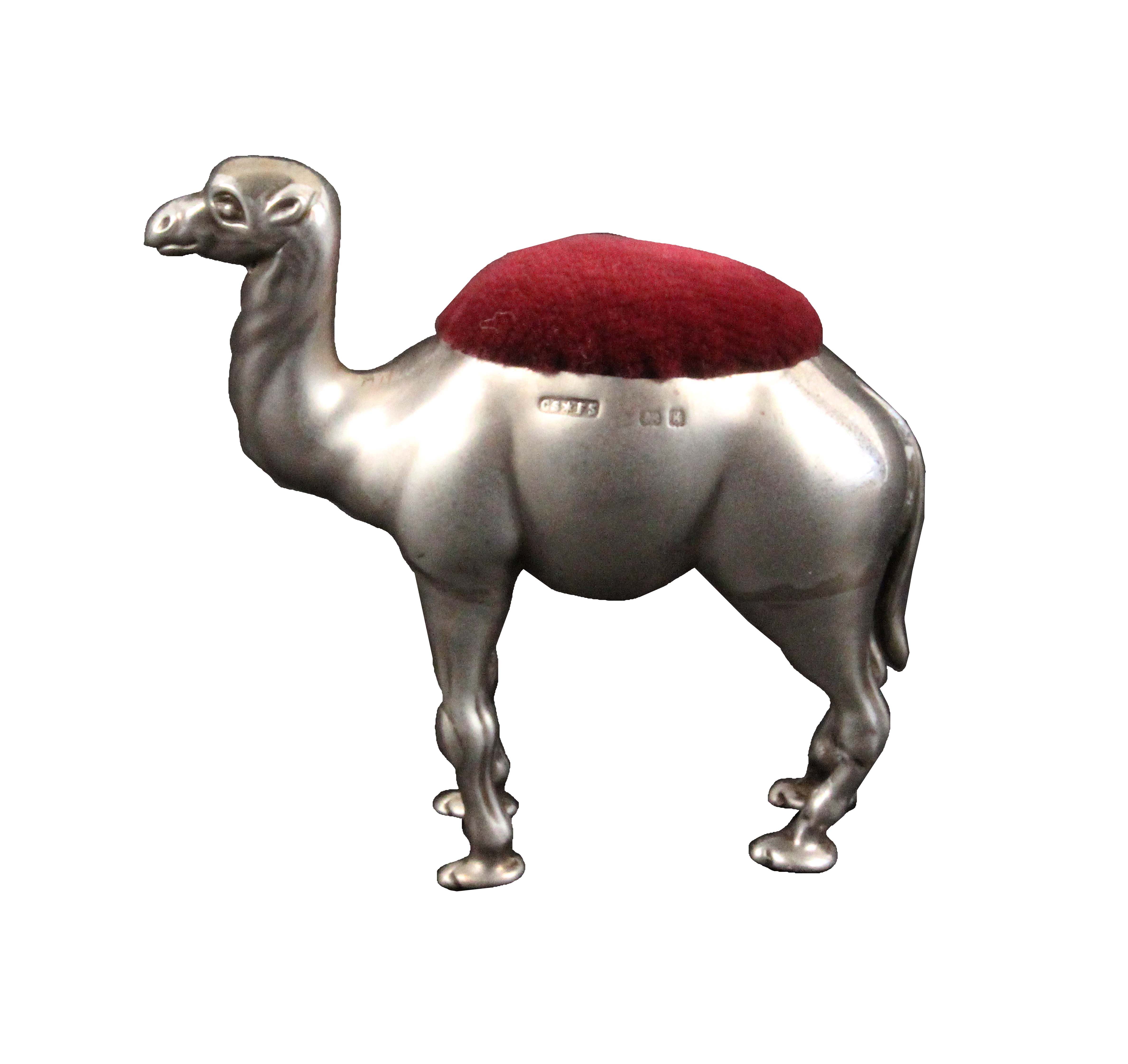 A large silver pin cushion, in the form of a standing camel, Birmingham, 1906 by Cornelius
