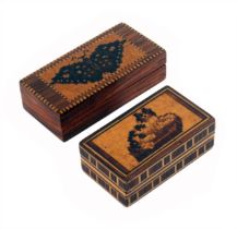 Two Tunbridge ware small rectangular boxes, one with a mosaic panel of a dog at rest over