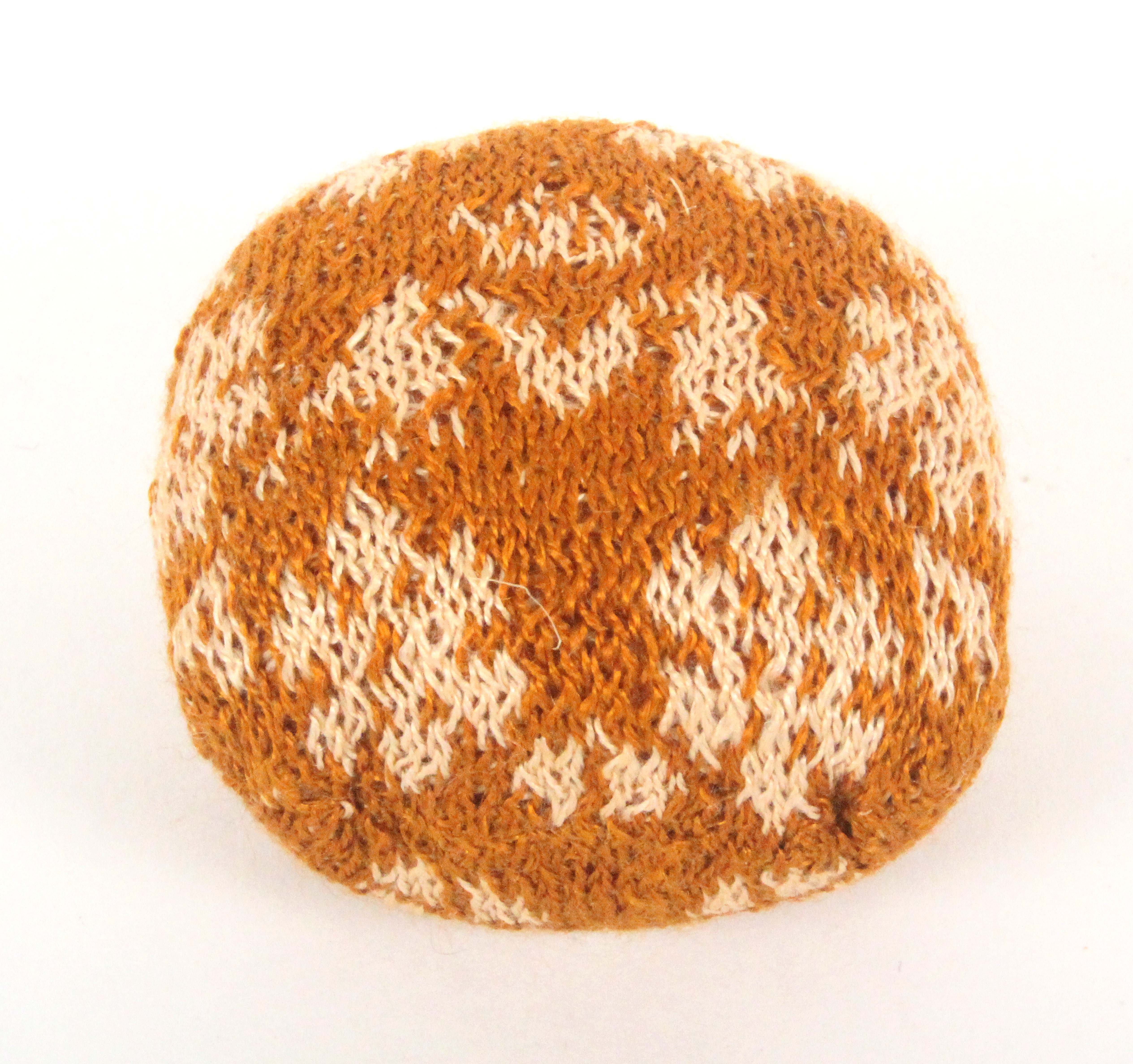 A late 18th Century/early 19th Century knitted pin 'ball', of near square form worked with a - Image 2 of 2