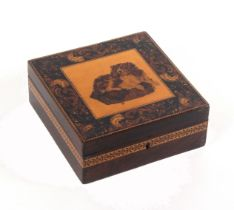 A rosewood Tunbridge ware box of square form, the lid centred by an inset mosaic panel of a dog at