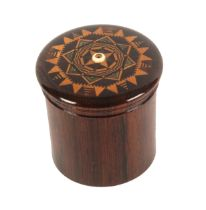 A rosewood Tunbridge ware cylinder string box attributed to Thomas Barton, the domed screw cover