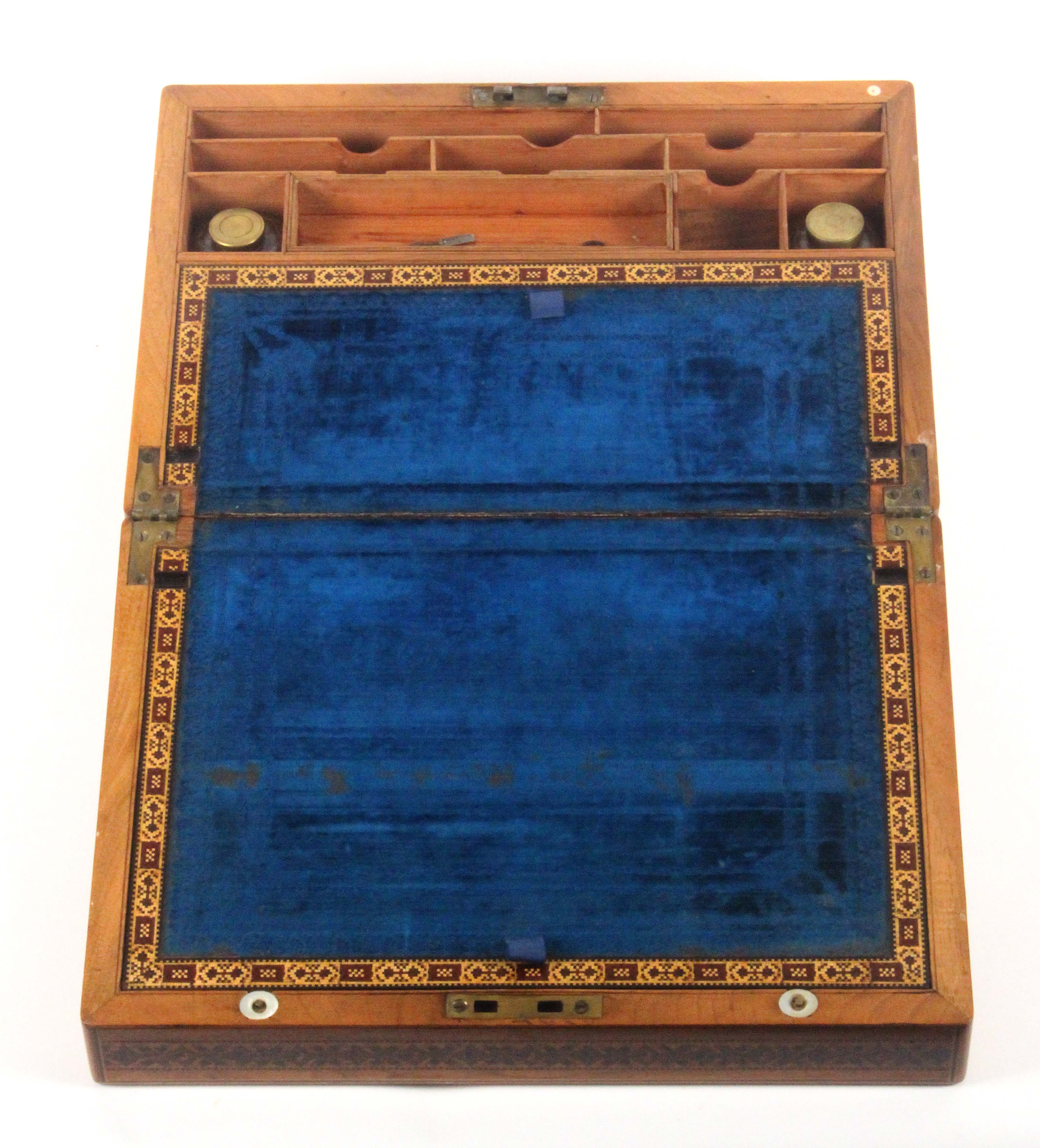 A rare Tunbridge ware mahogany writing box, the lid with an inset mosaic panel of Tunbridge Castle - Image 3 of 4