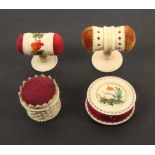 Four 19th Century bone and ivory pin cushions, comprising a disc form example, one side painted with