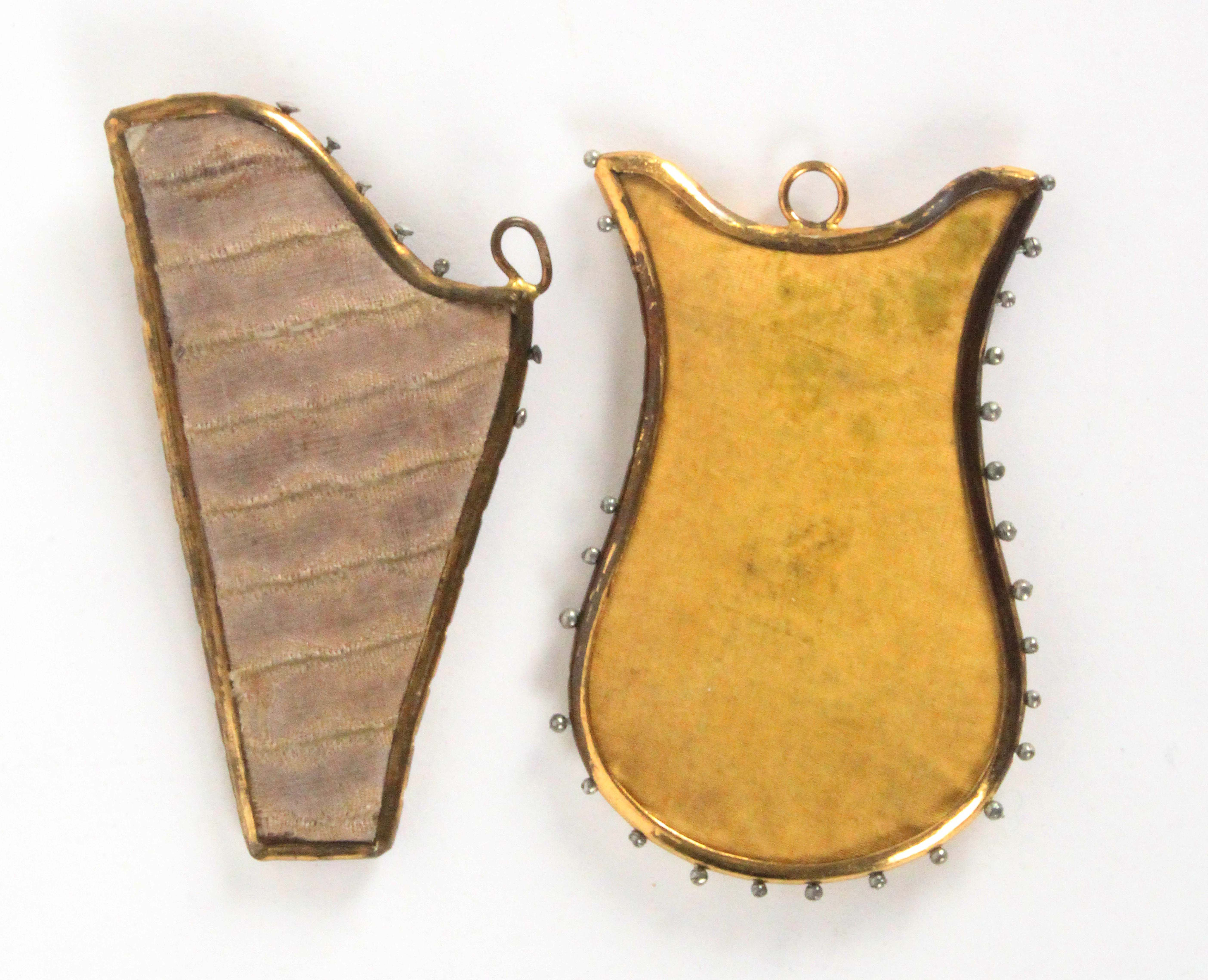 Two scarce metal frame early 19th Century pin retainers modelled as a harp and a lyre, each with - Image 2 of 2