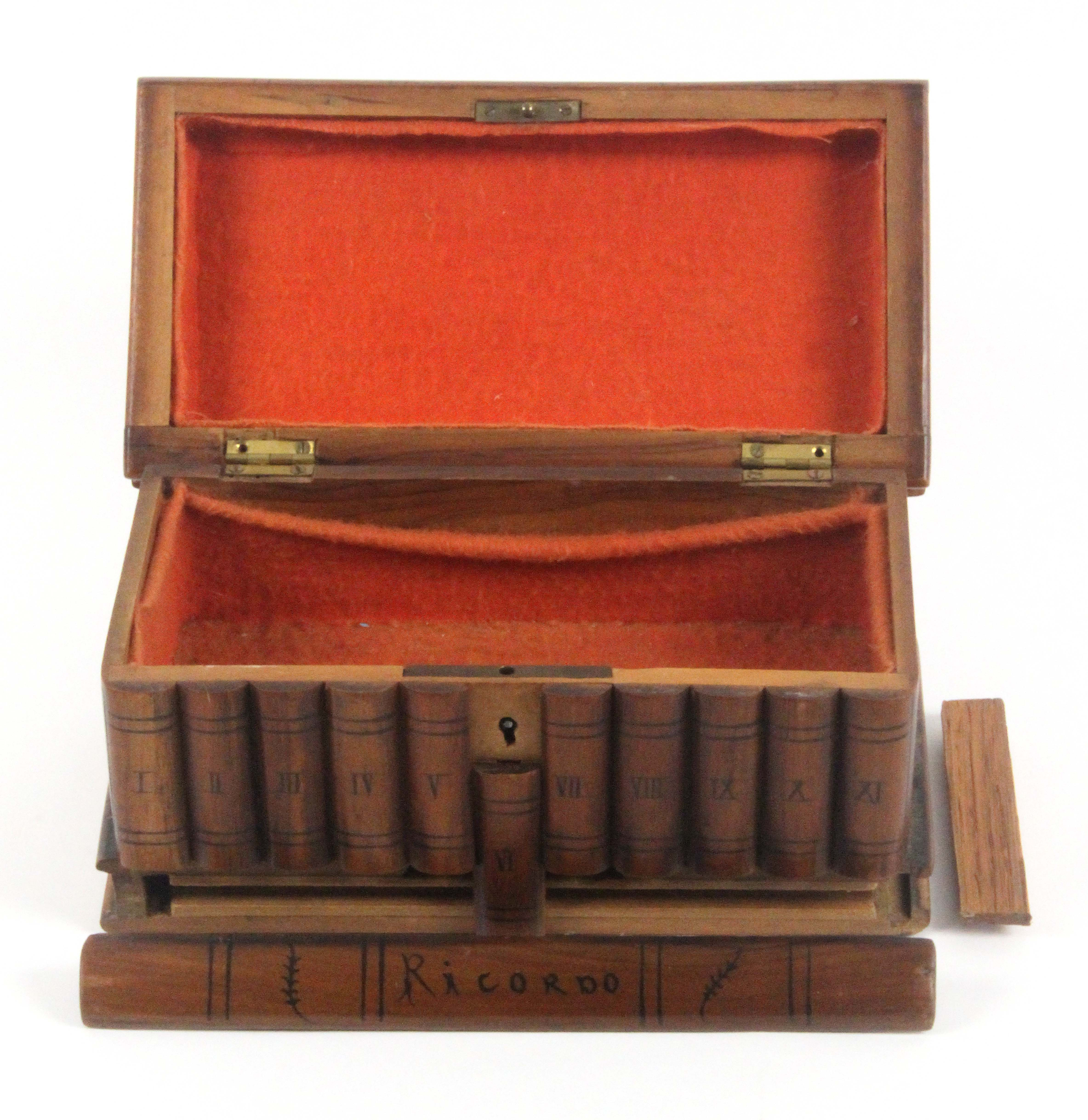 A late 19th Century Sorrento ware 'book' box, the book form lid with a marquetry panel of three - Image 2 of 2