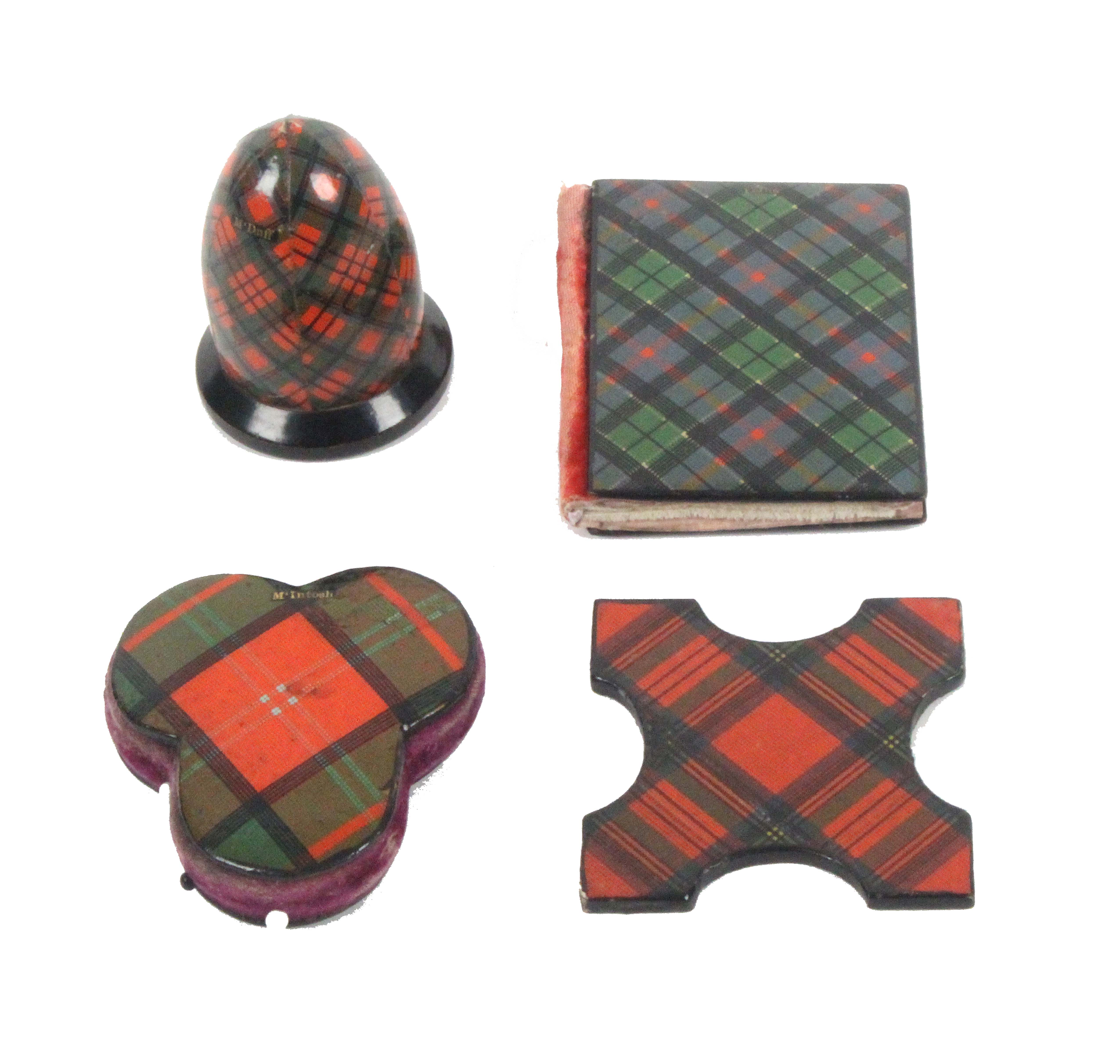 Tartan ware - sewing, four pieces comprising an acorn form thimble case (untitled), 5cms, a