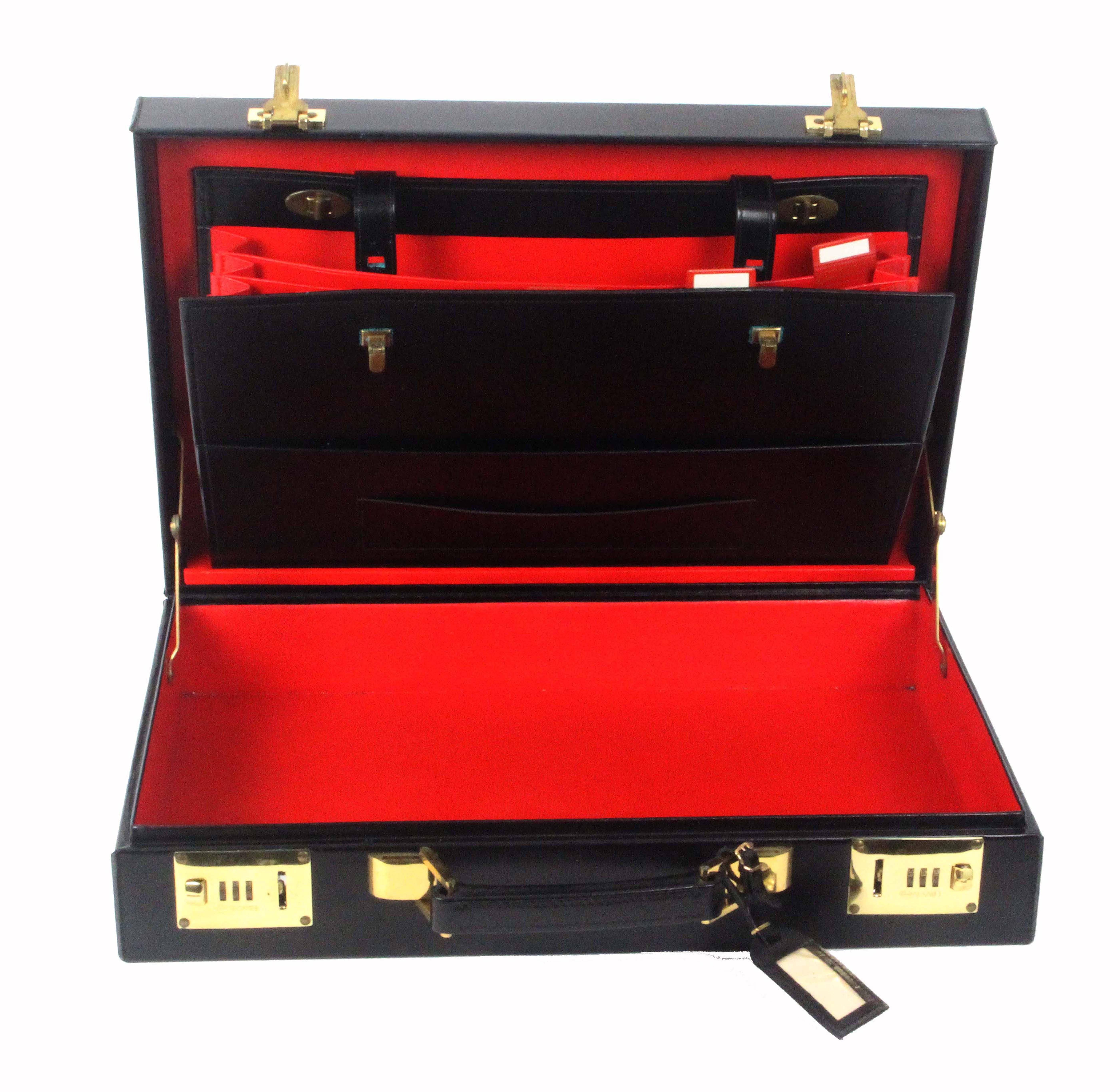 Asprey - London, a black leather attache case, unused, rectangular, brass Sesamee combination - Image 2 of 3