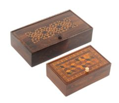 Two Tunbridge ware rosewood rectangular pin hinge boxes, comprising an example with stick ware lid