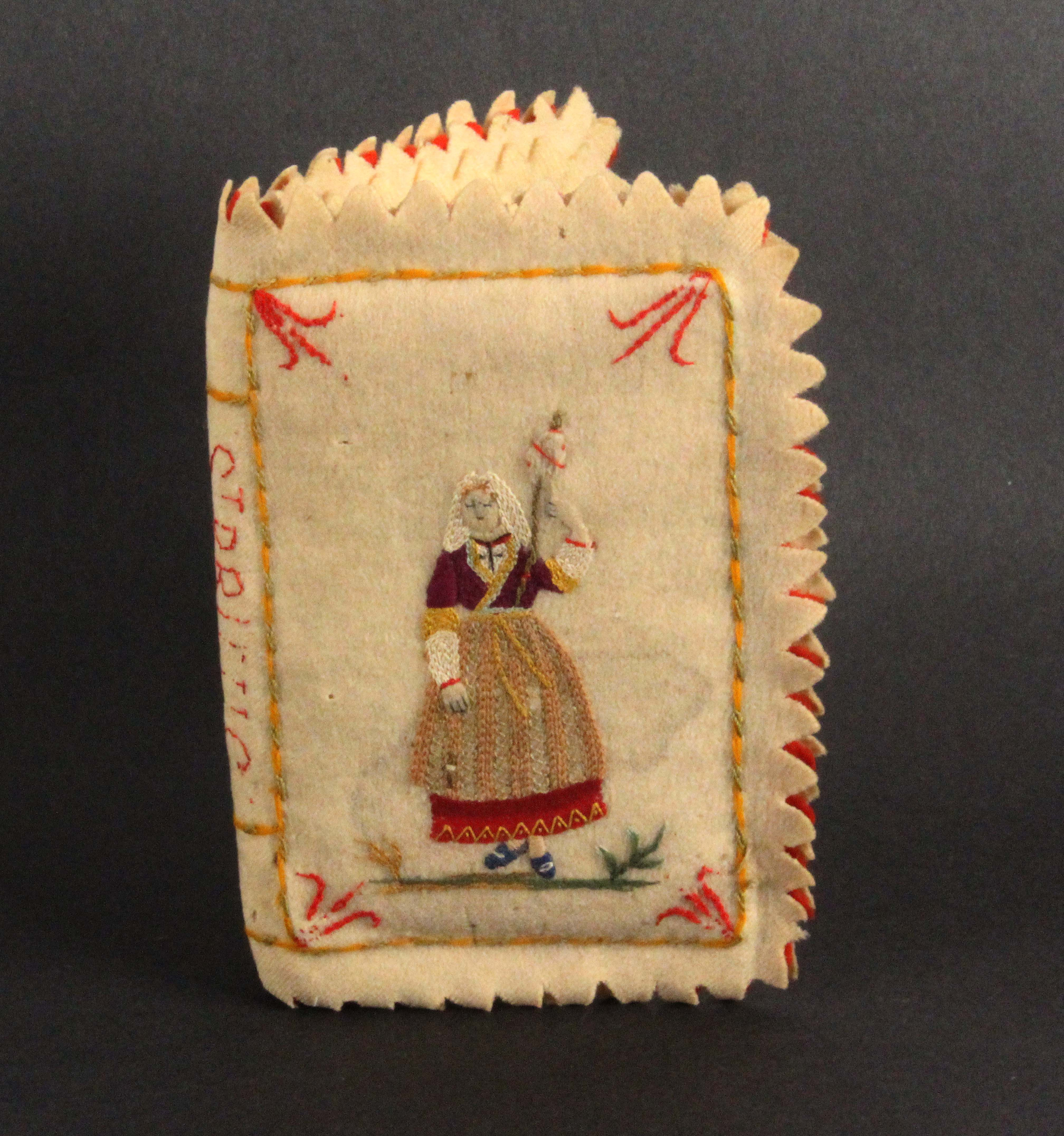 A 19th Century French needle book of large size, titled to the spine 'St Brieuc', the felt covers