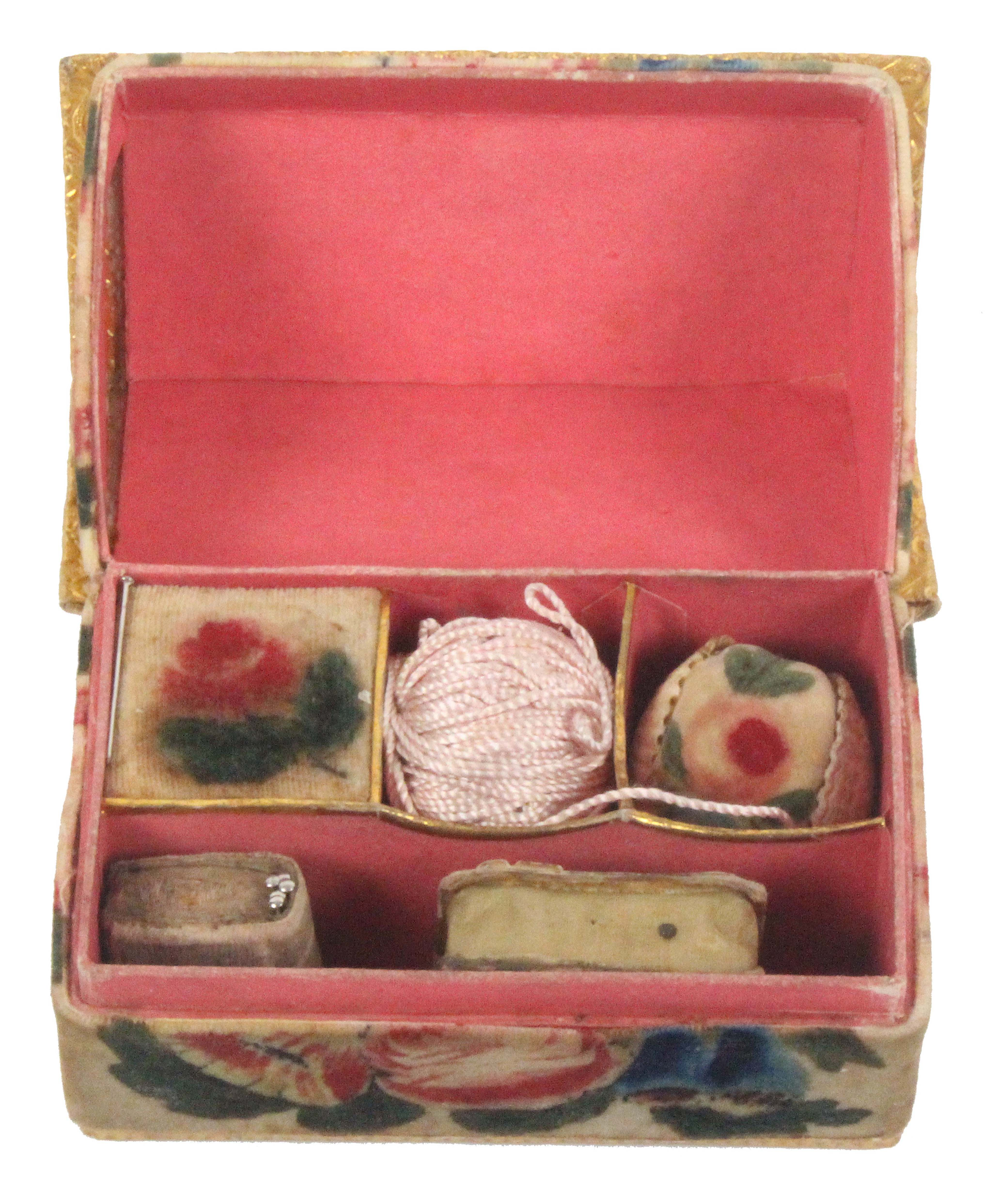 A rare Regency gilt foil and velvet painted child's sewing box in the form of a house, the front and - Image 2 of 2