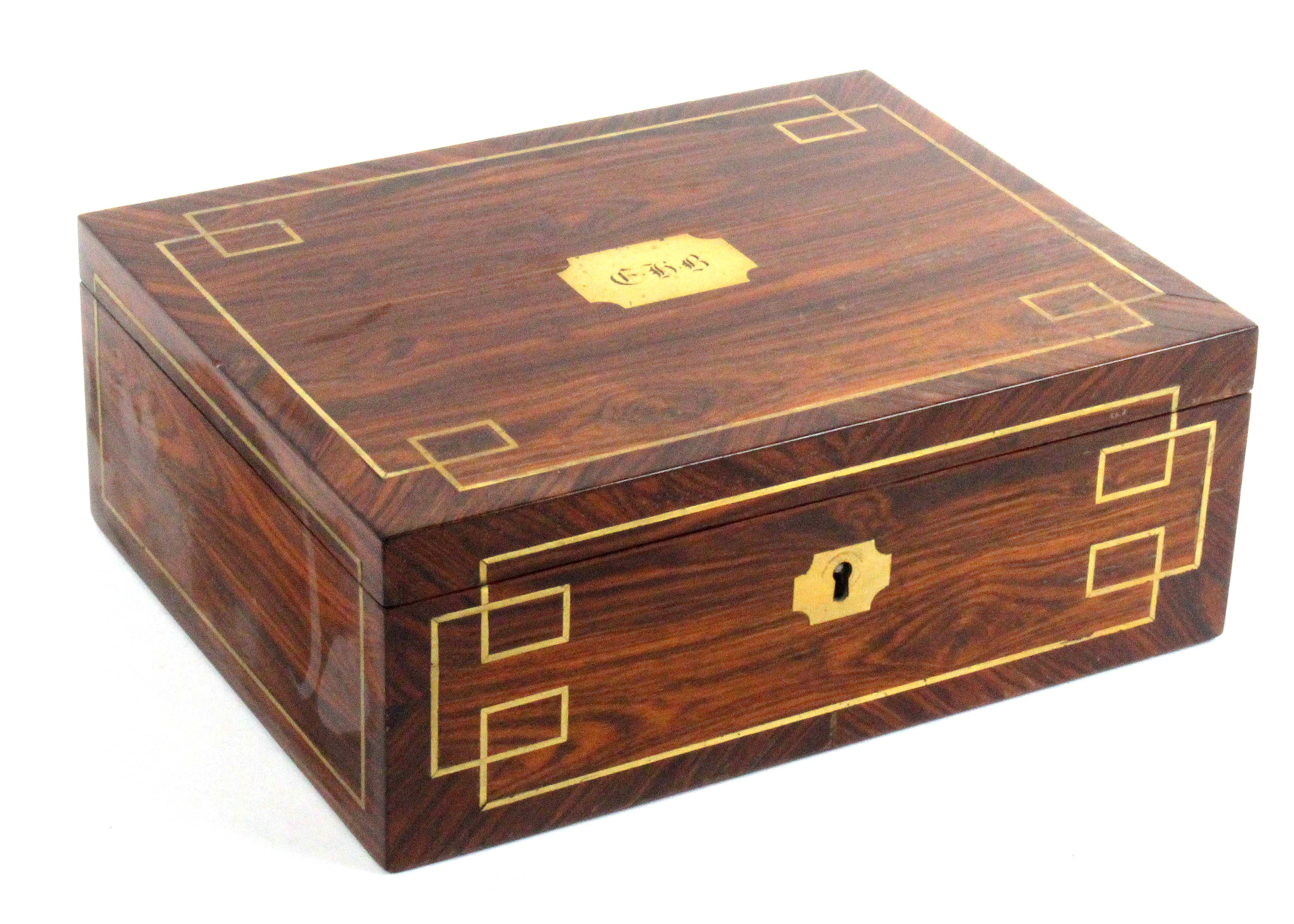 A finely fitted kingwood and brass inlaid small format sewing box, circa 1835, of rectangular