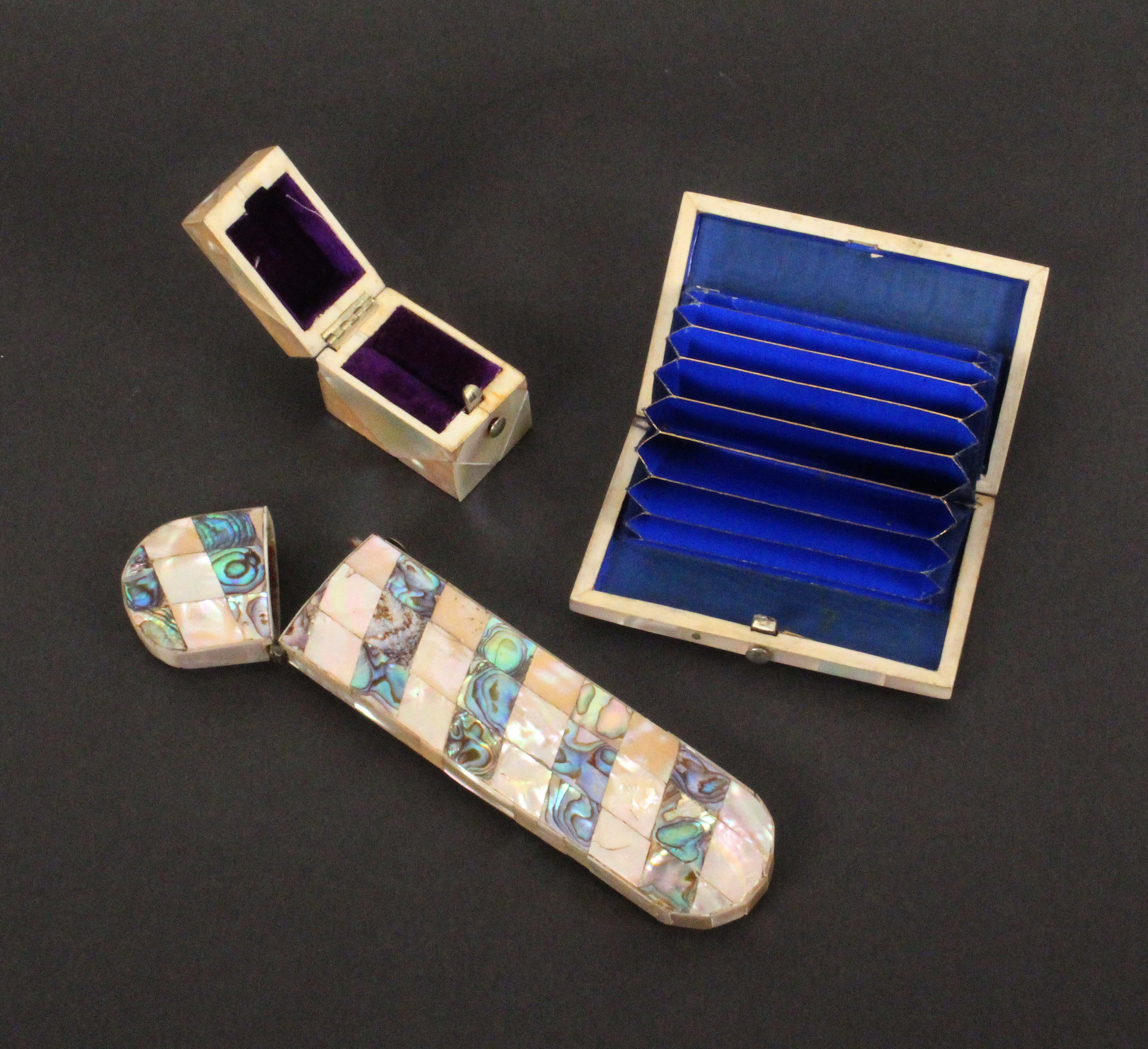 Three mother of pearl boxes, comprising a spectacle case with spiral bands of abalone shell, 15. - Image 2 of 2