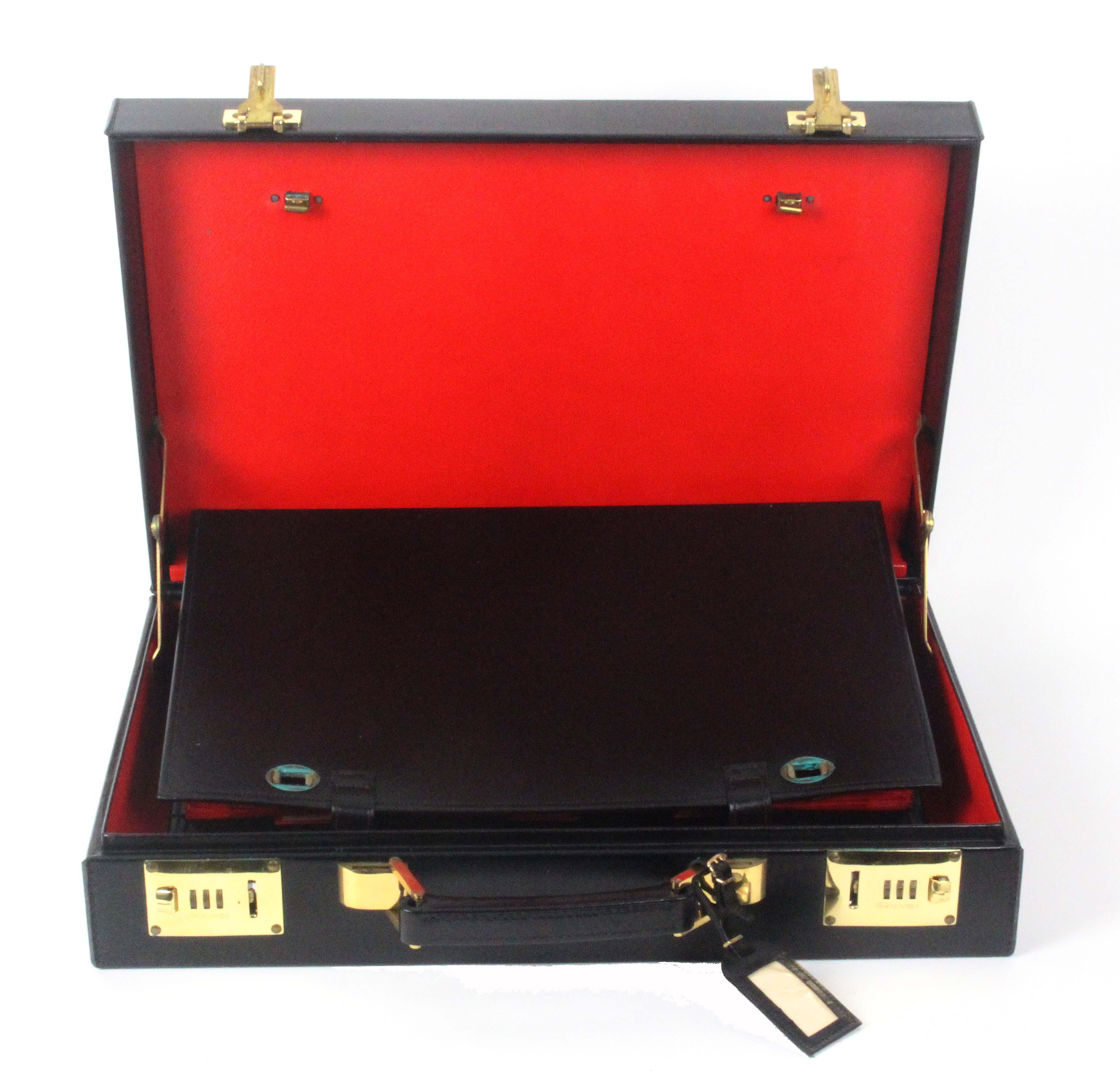 Asprey - London, a black leather attache case, unused, rectangular, brass Sesamee combination - Image 3 of 3