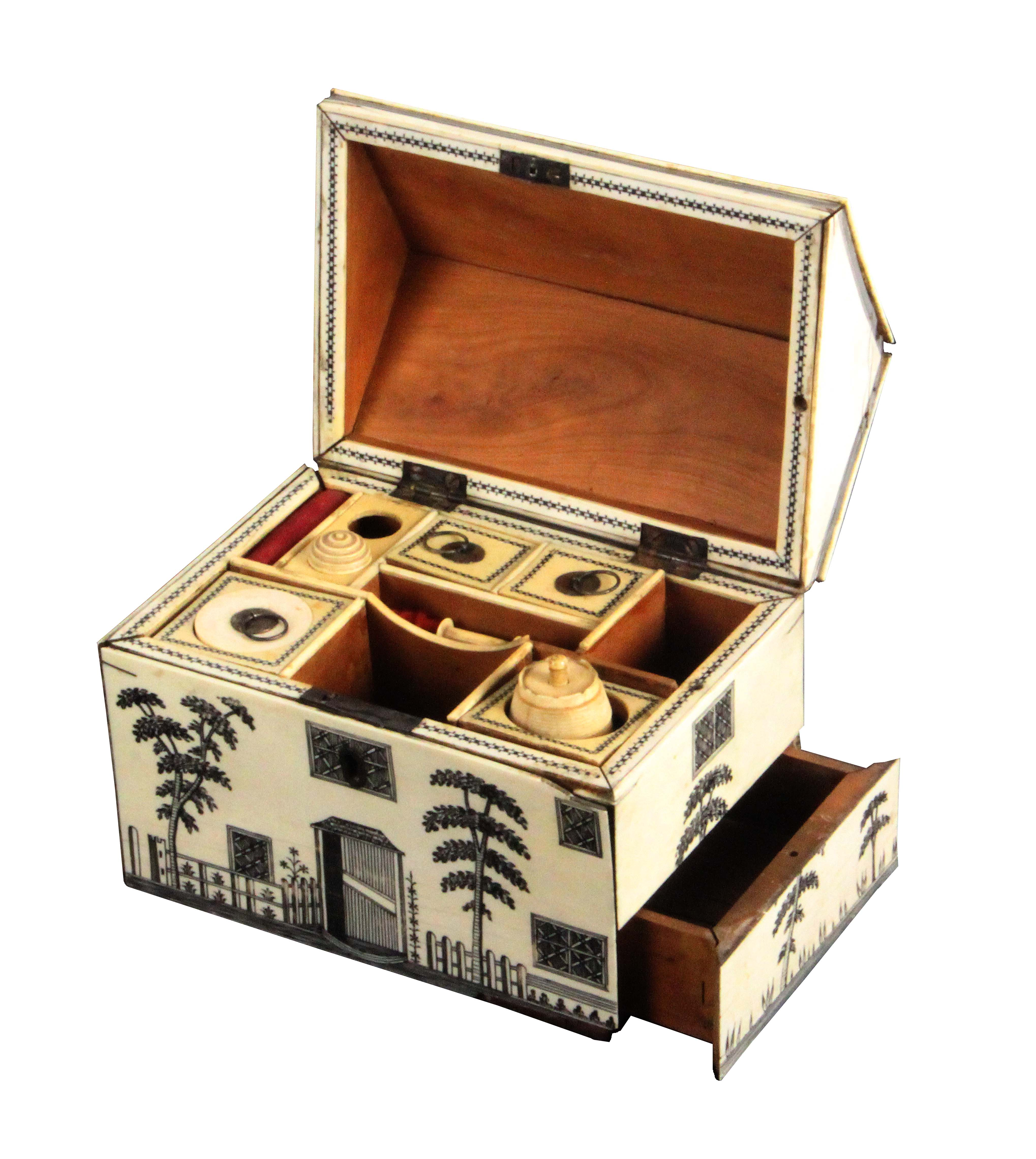 A rare early 19th Century Anglo-Indian ivory veneered sewing box in the form of a house, the pitched - Image 3 of 3