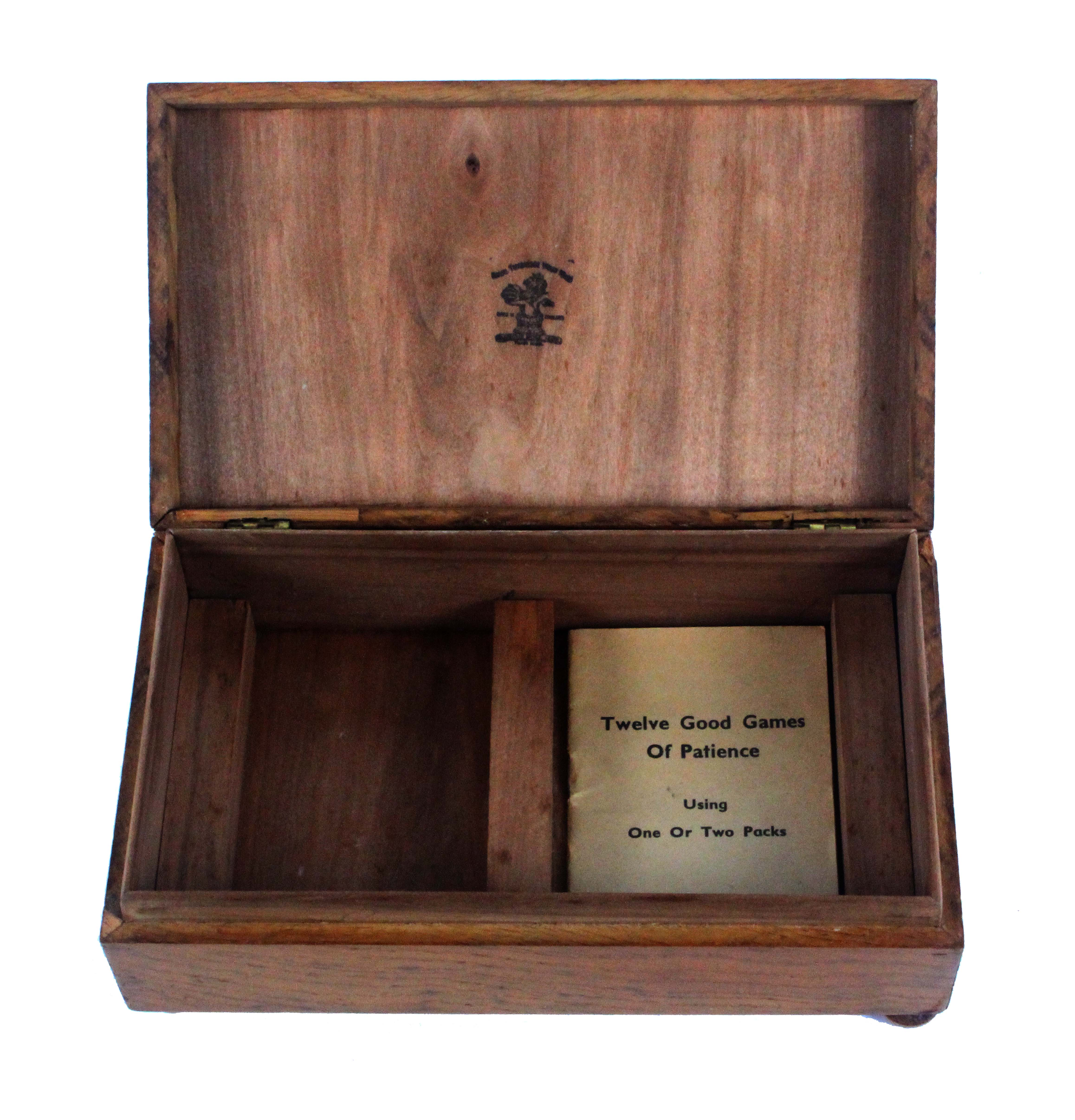 A late Tunbridge ware figured oak card box, of rectangular form, the lid with an inset mosaic - Image 2 of 3