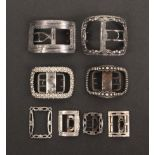 Single shoe buckles, early 19th Century all with lion or makers mark comprising four large format,