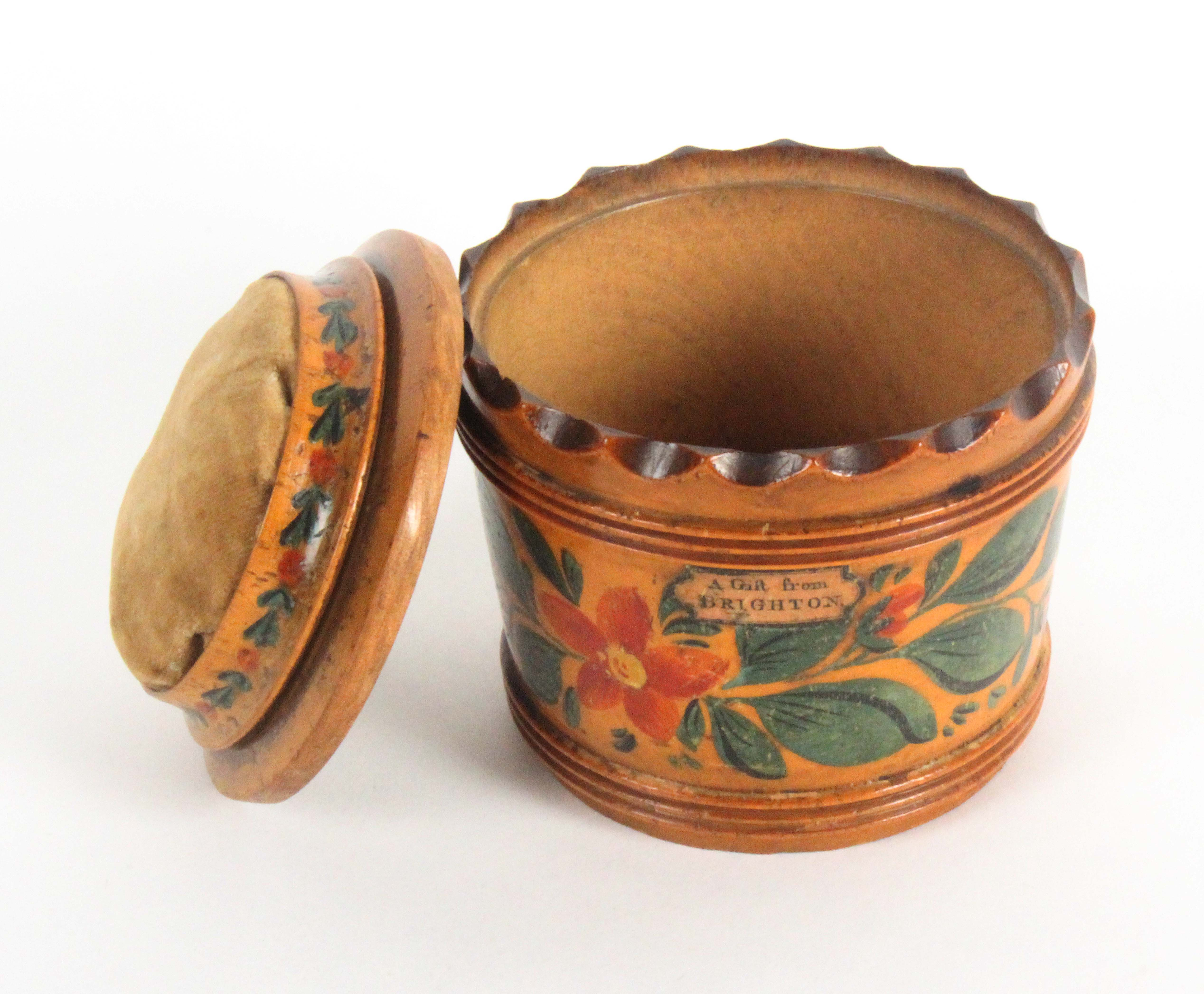 An early Tunbridge ware white wood box base pin cushion, of tapering cylinder form, brightly painted - Image 2 of 2