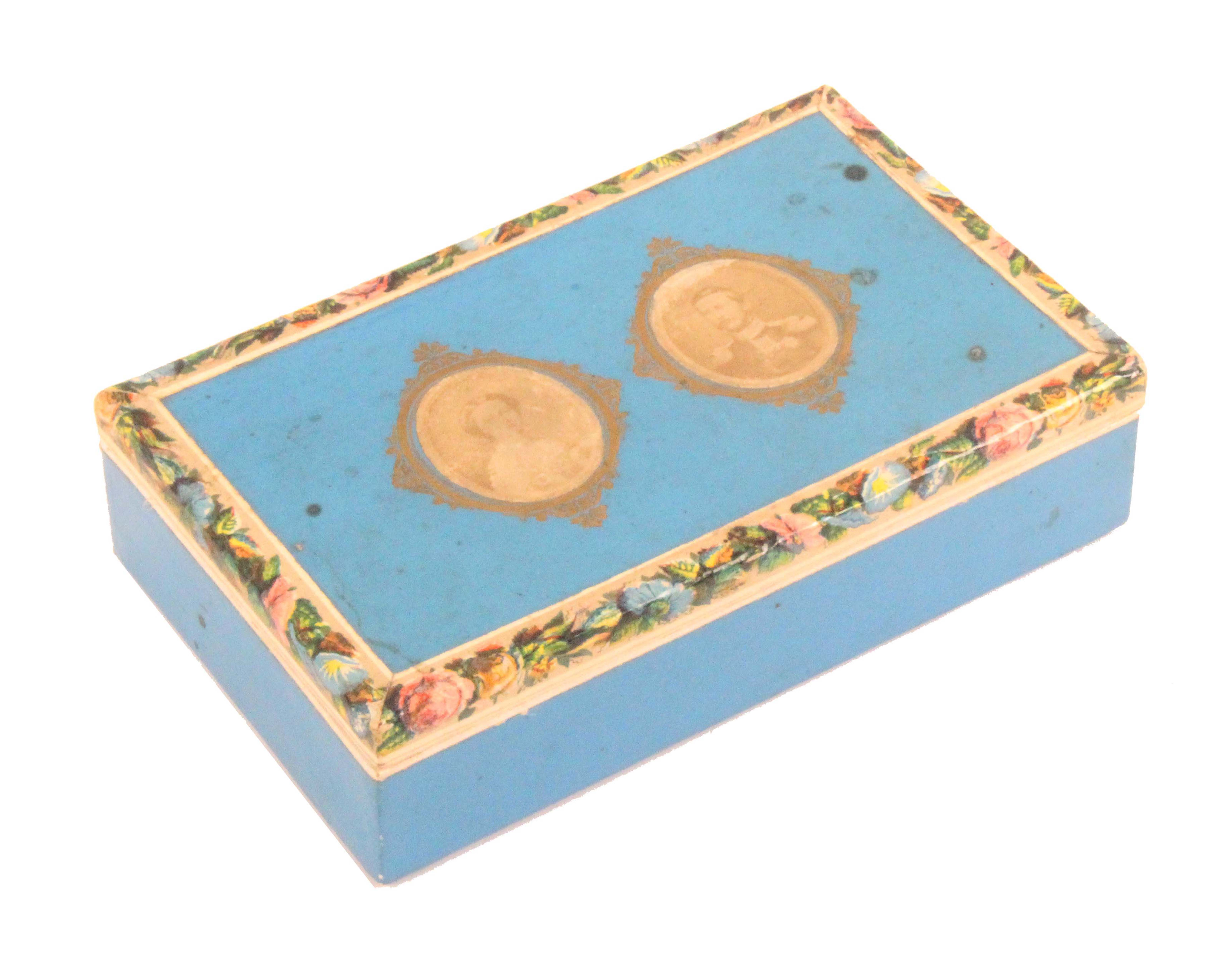 A mid 19th Century continental cardboard sewing box, probably commemorating the wedding of Franz