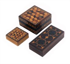 Three Tunbridge ware boxes, comprising a rosewood rectangular example, the lid in geometric stick