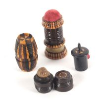 Tunbridge ware - sewing - four pieces, comprising a combination waxer/tape measure/pin cushion of