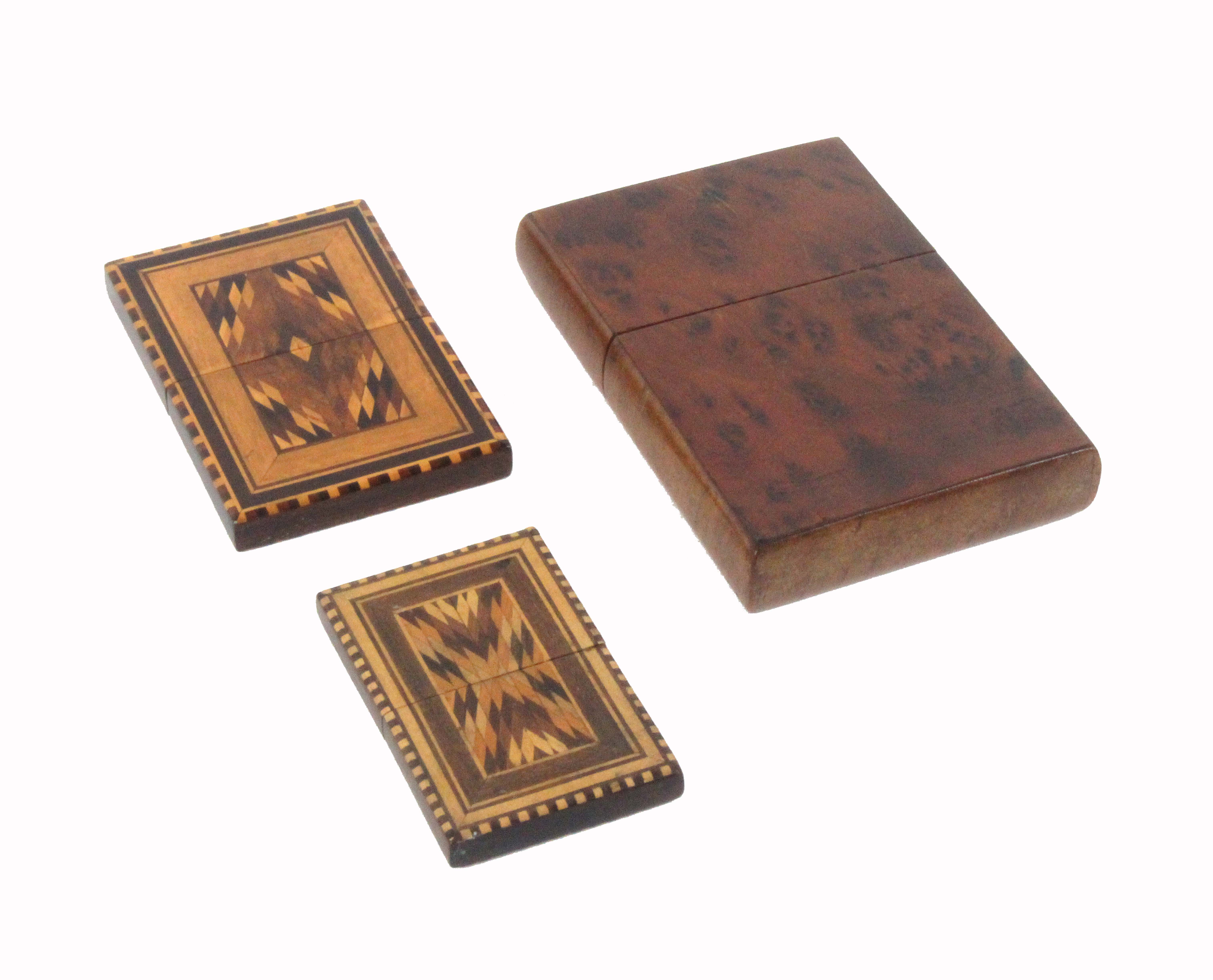 An amboyna wood and Tunbridge ware cigar case, of rectangular form with pull off lid, one side - Image 2 of 2