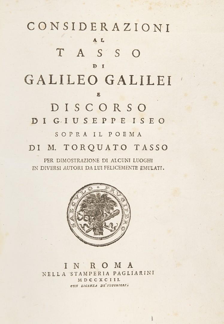 Galilei, Galileo Considerazioni al Tasso.