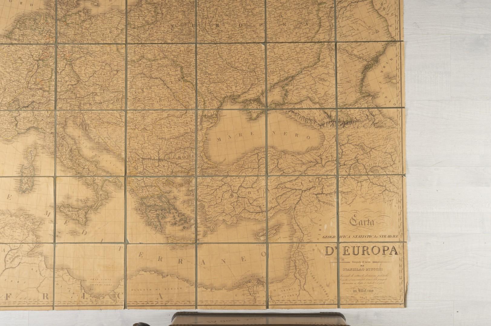 Stucchi, Stanislao Carta geografica statistica e stradale d'Europa. - Image 5 of 8